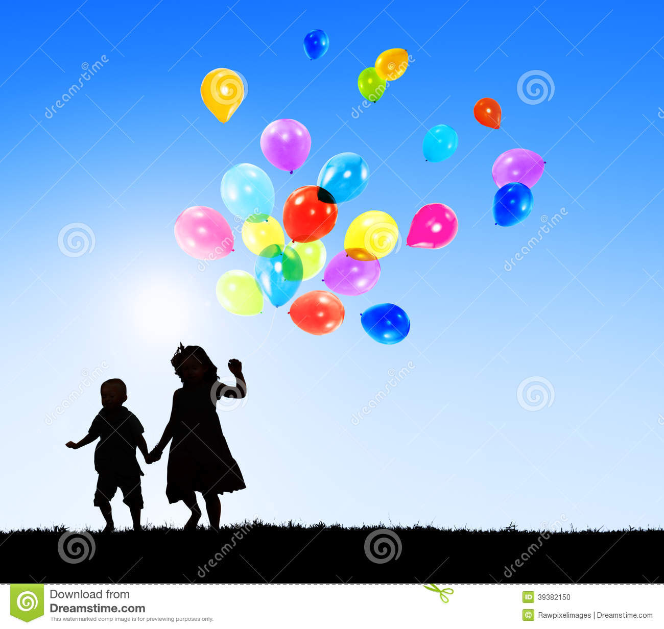 Two Children Outdoors Holding Balloons