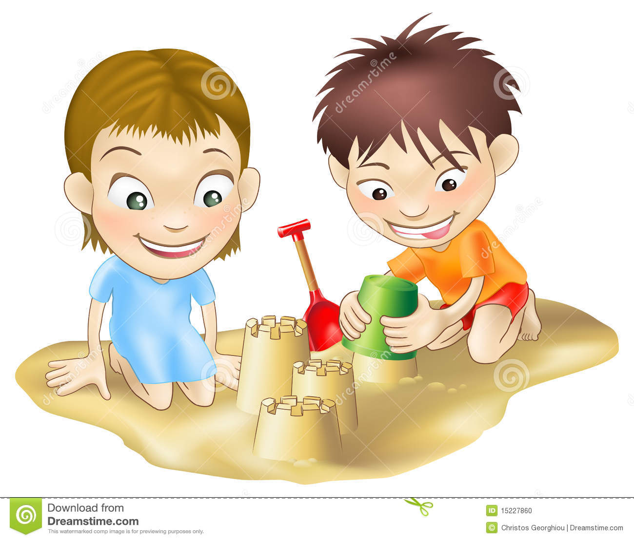 Two Children Playing In The Sand Stock Vector
