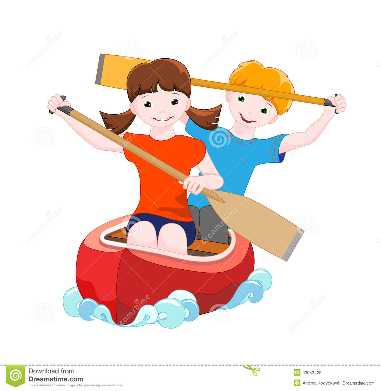 Two Children On Red Canoe Girl And Boy Go Down The River A