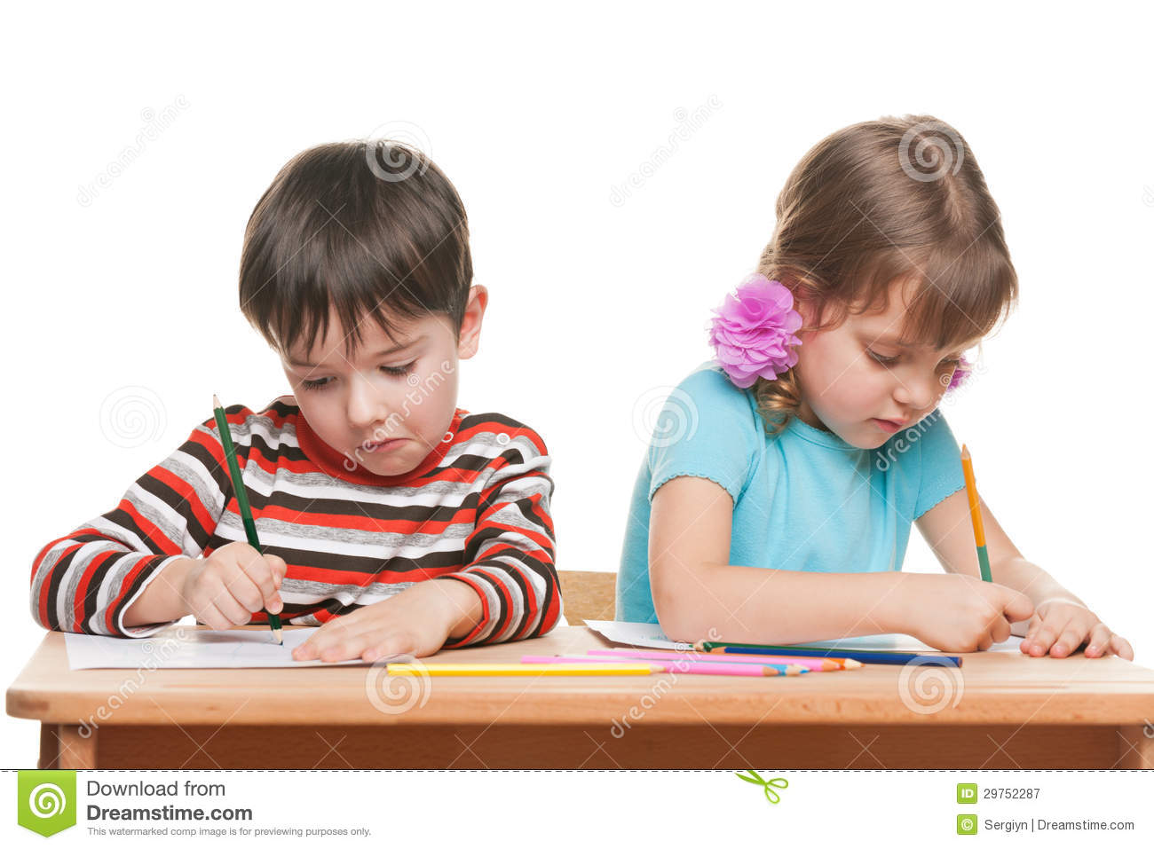 two children write at the desk royalty free stock photography image 29752287