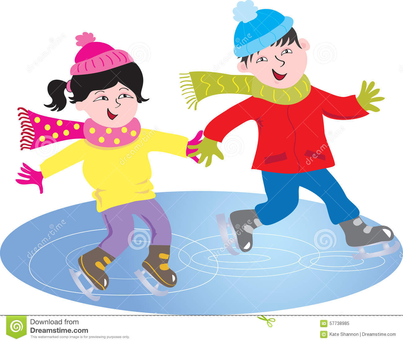 two children skating stock vector   image 57738985