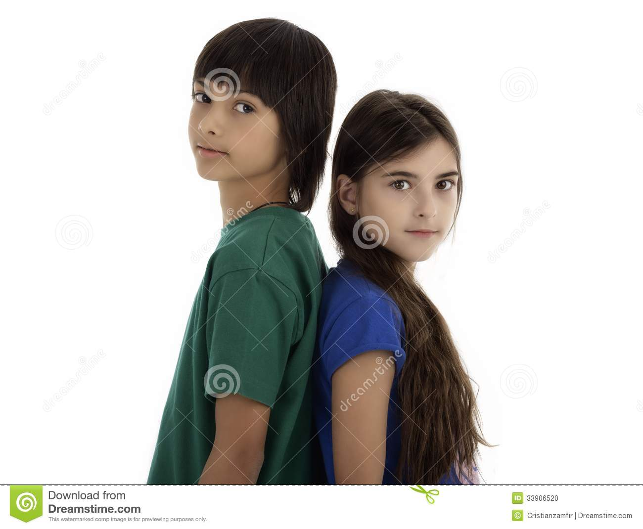 Two Children Standing Back To Back Stock Photo - Image ...