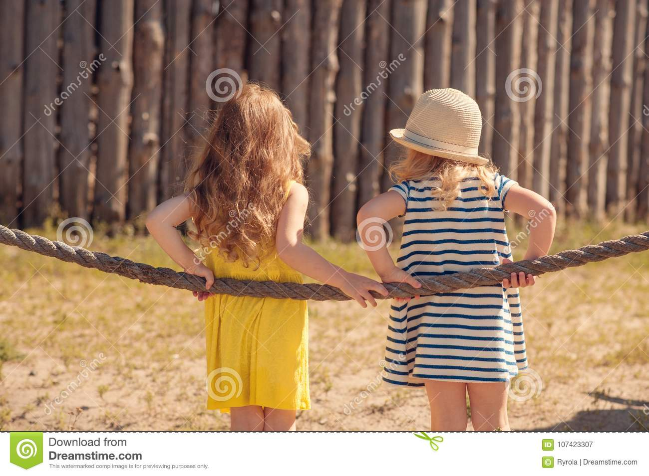019d99af8874b Two Children Standing Back To Camera Stock Image - Image of summer ...
