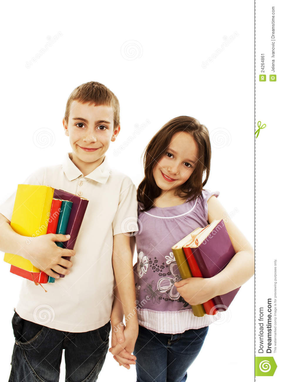 Two Children Students Returning To School Stock Image Image Of Companion Friend 24264861