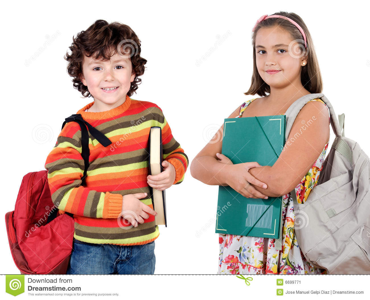 Two Children Students Returning To School Stock Image Image Of People Caucasian 6699771