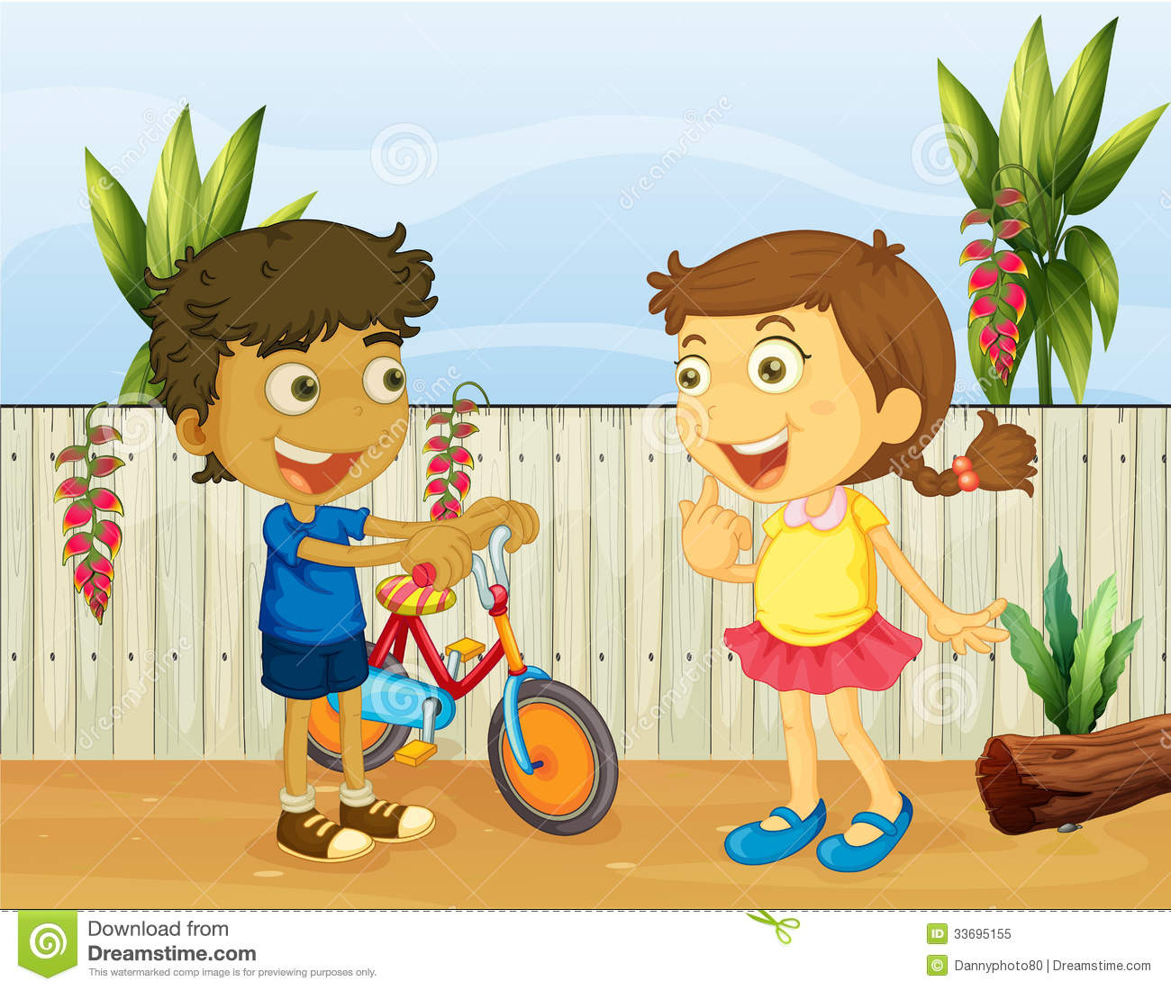 2 kids talking to each other clipart