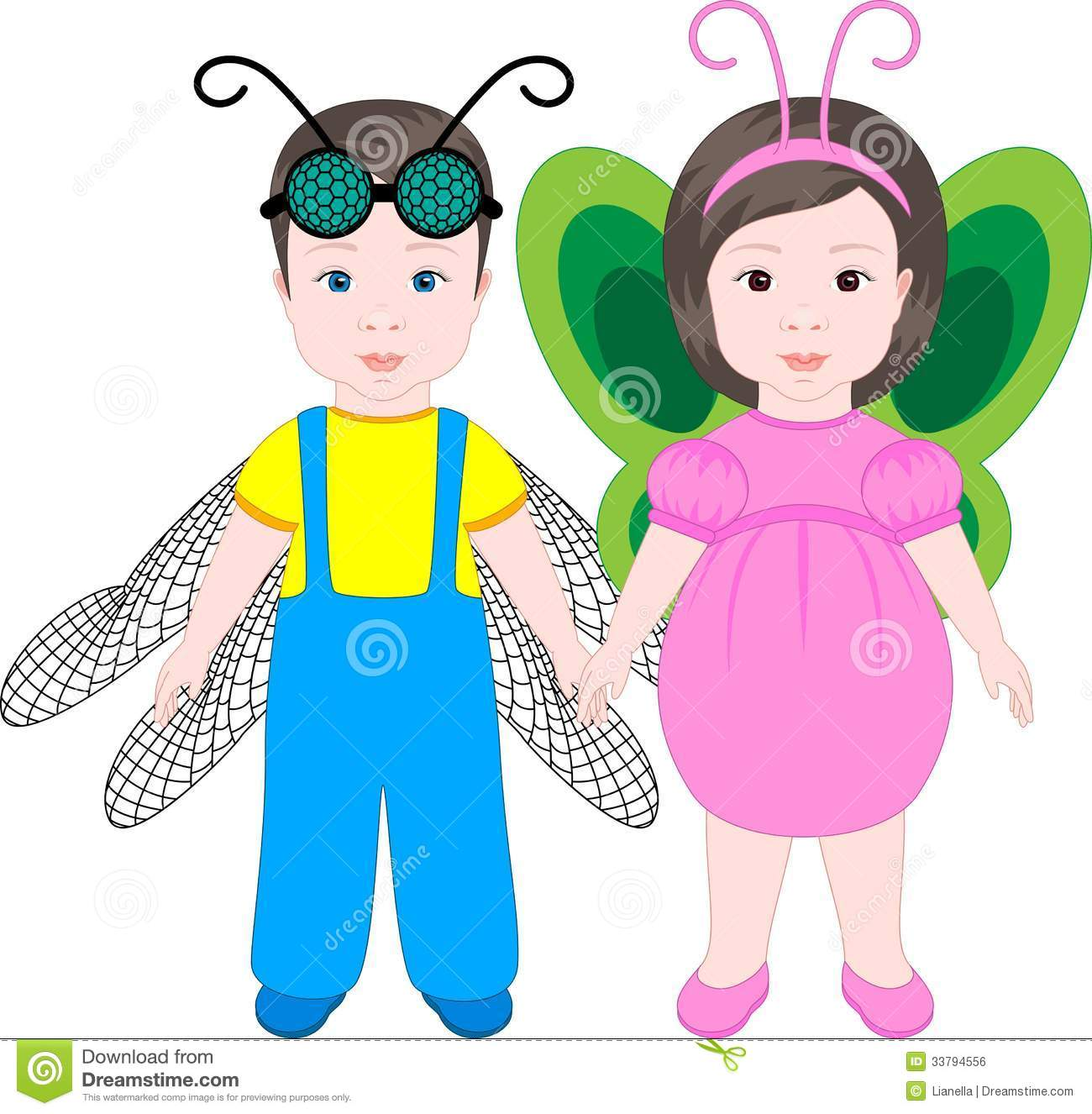 boy and girl wearing halloween costumes
