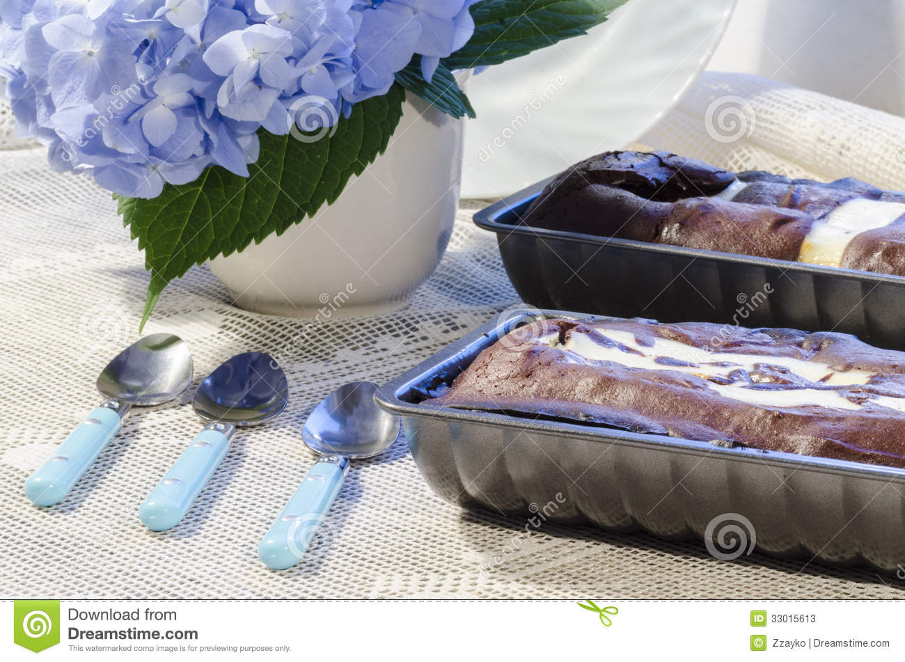 Two chocolate cake in a baking dish