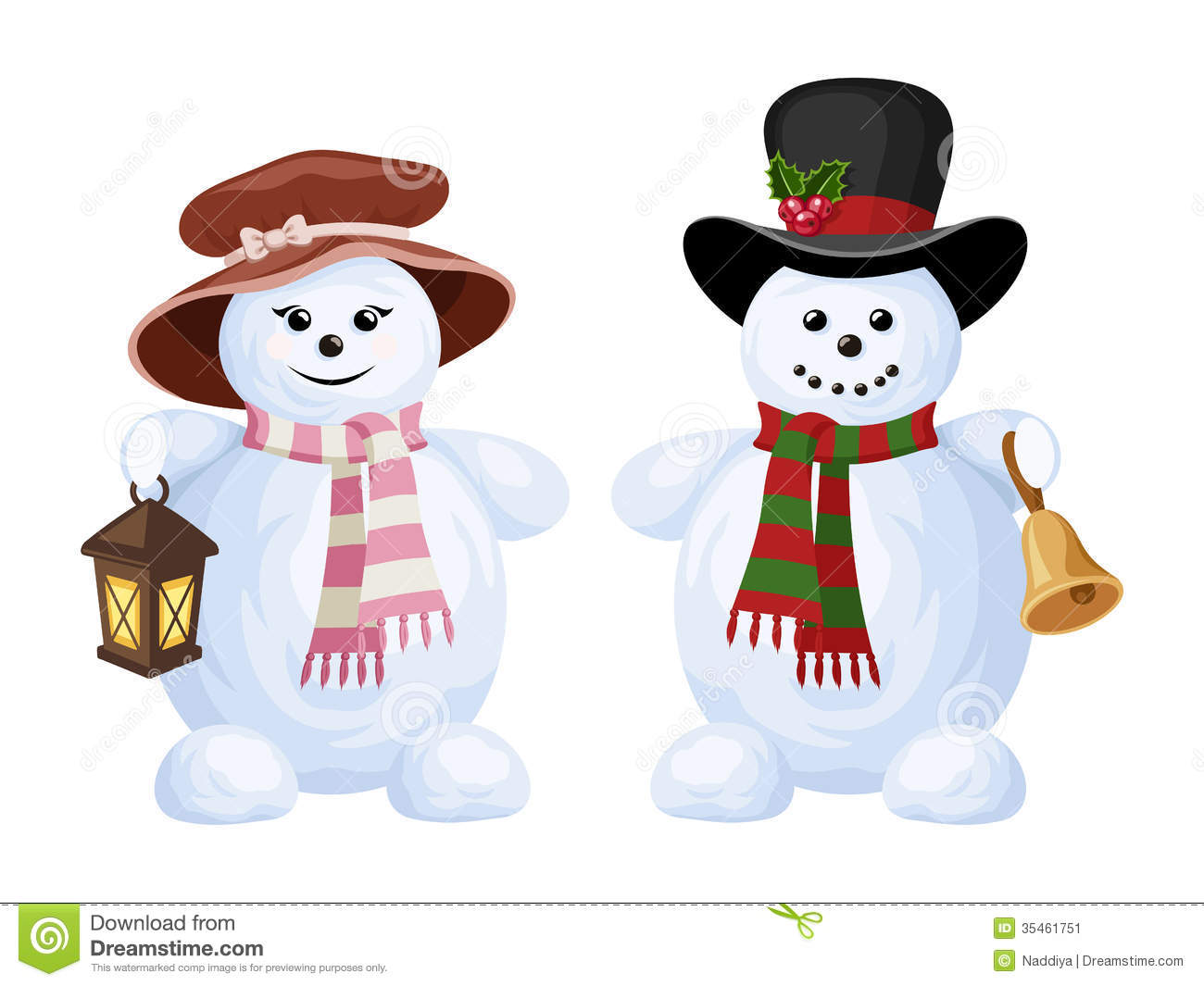 Two Christmas Snowmen: A Boy And A Girl. Stock Image - Image: 35461751