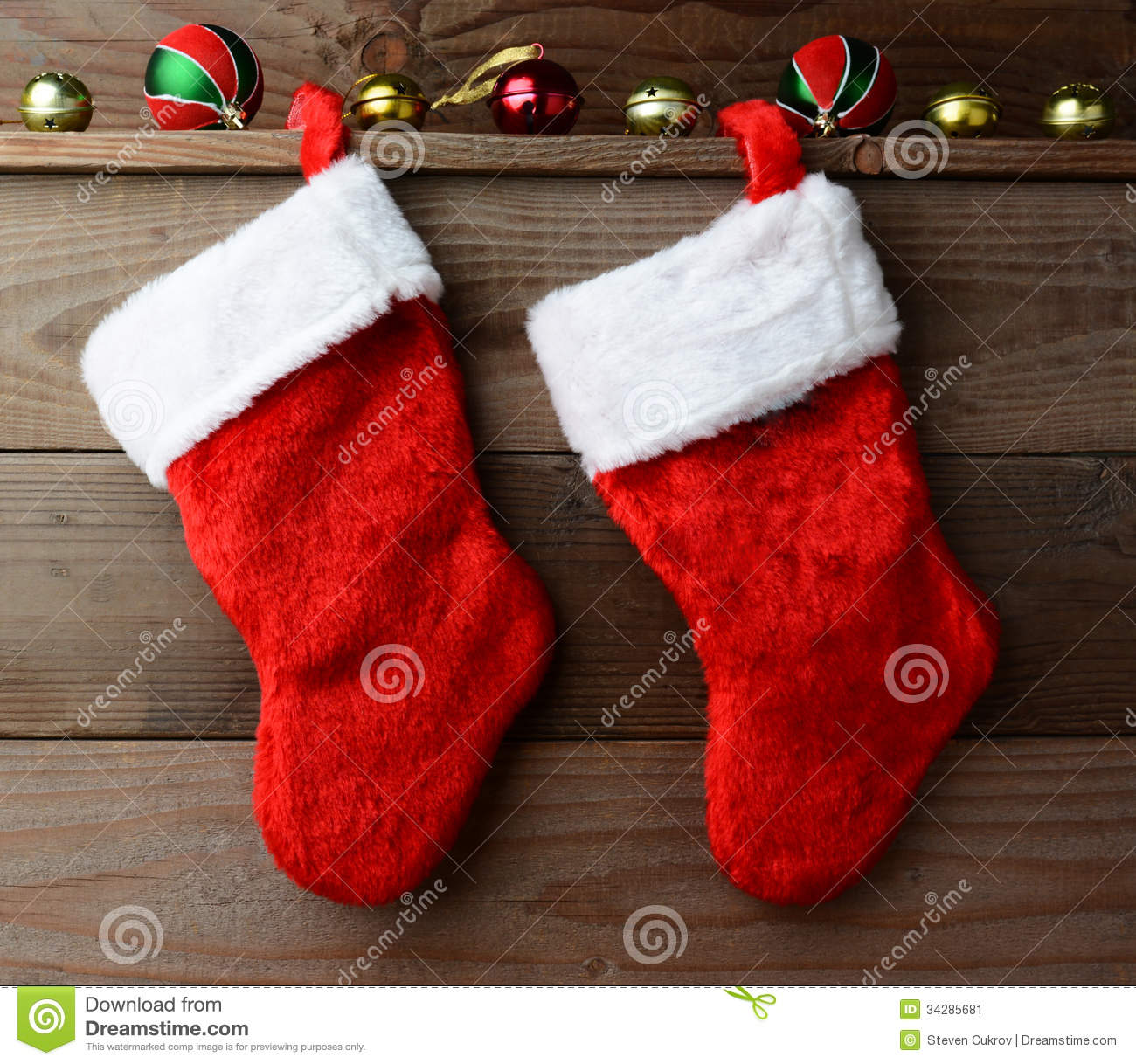 Two christmas stockings stock image of cabin