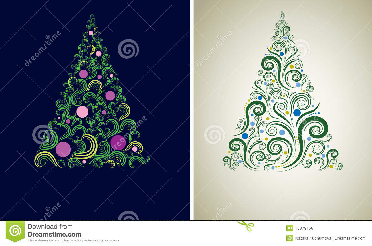 Two Christmas Tree Backgrounds Royalty Free Stock Image - Image ...