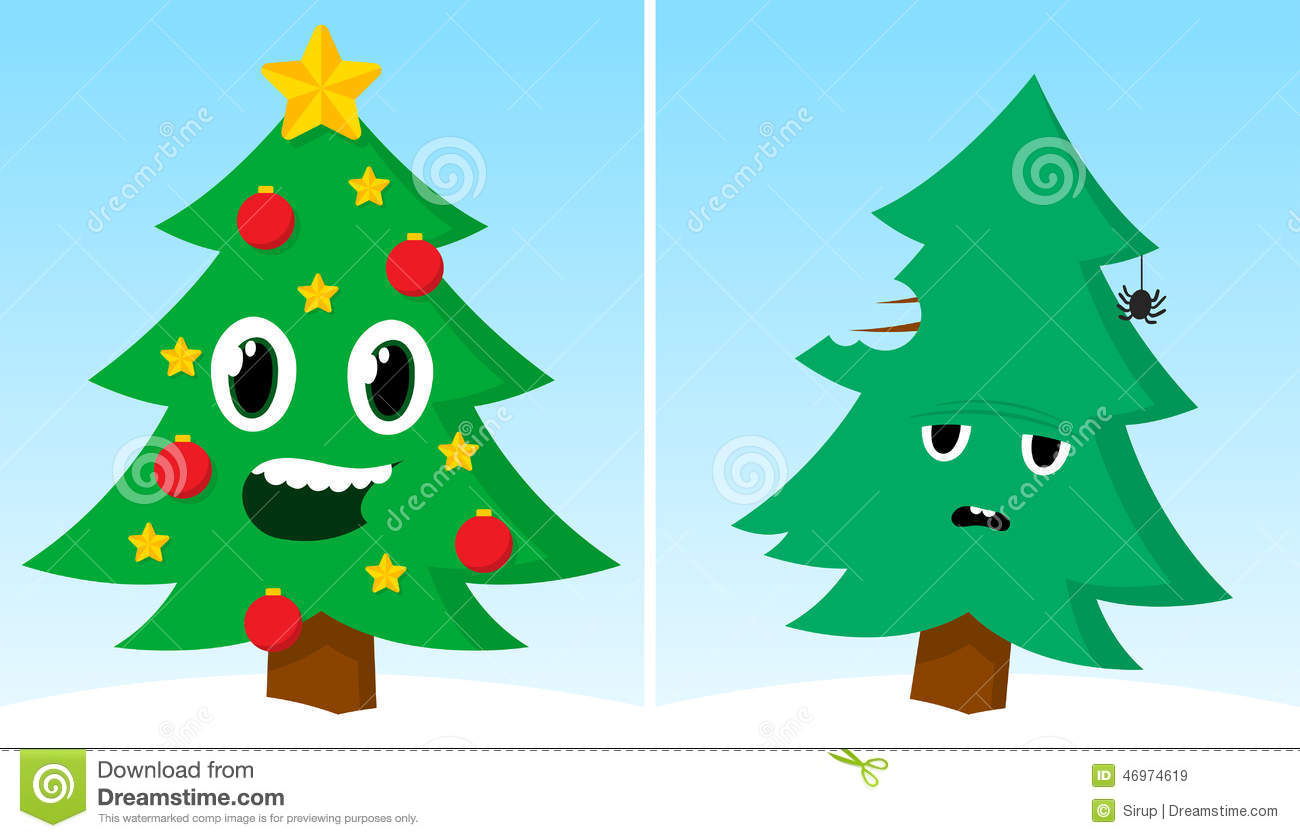 Two Christmas Trees One Happy One Sad After Xmas Stock Vector ...