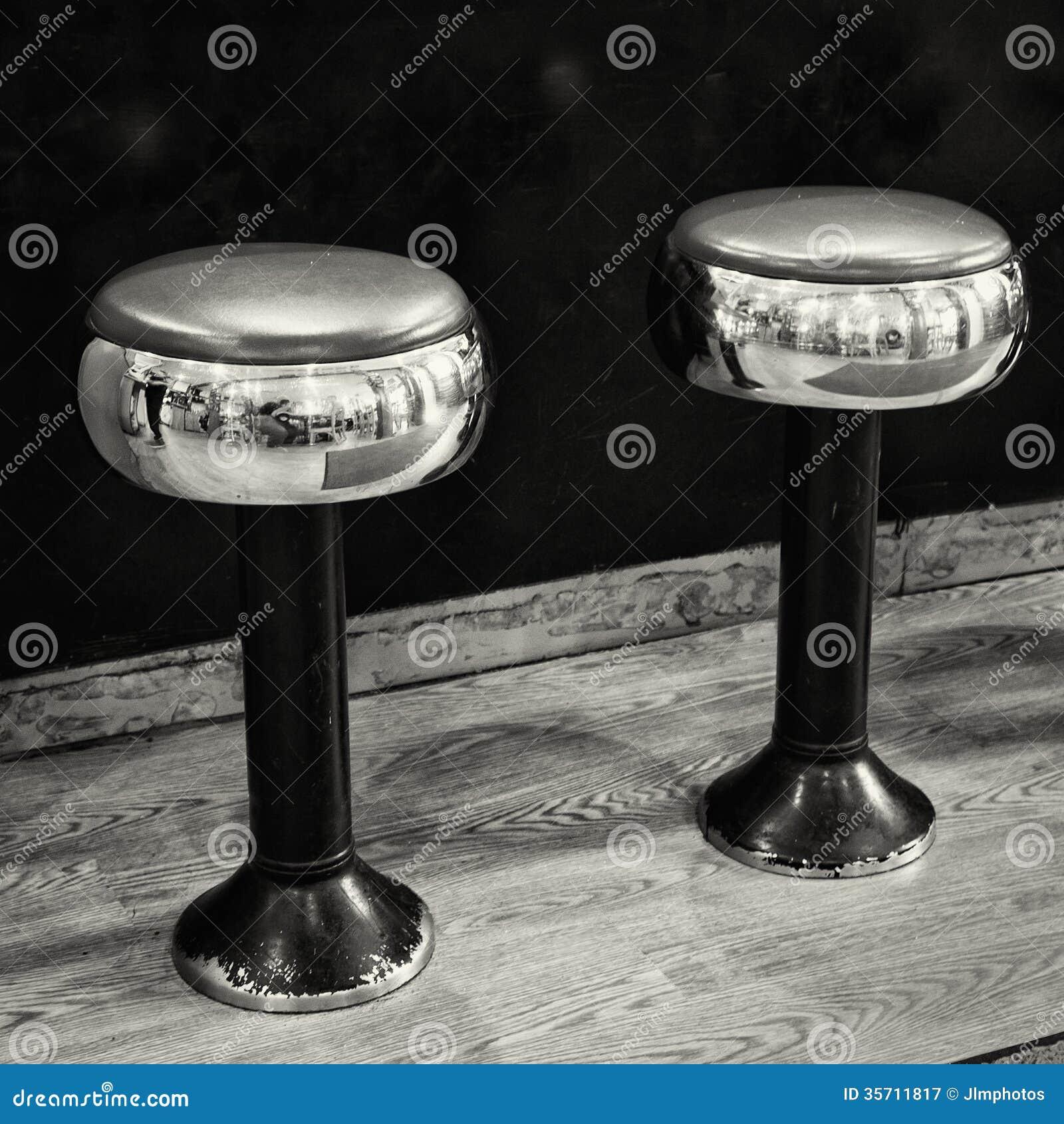Two Chrome And Black Stools Stock Image Image 35711817