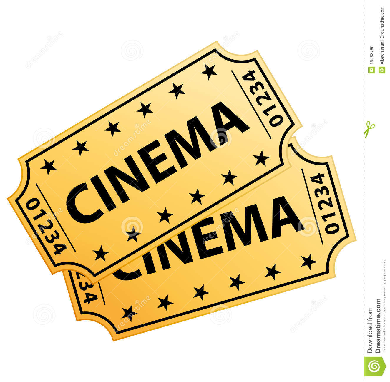 Two yellow cinema tickets isolated on white background.