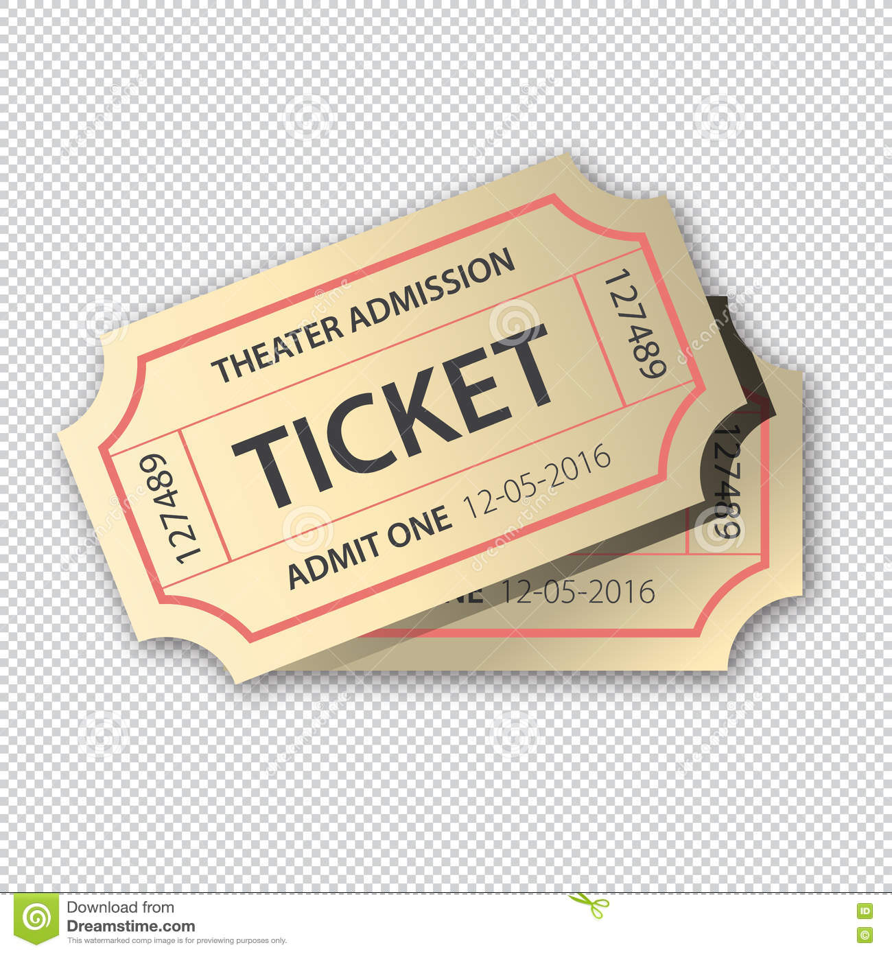 two cinema tickets pair on transparent background