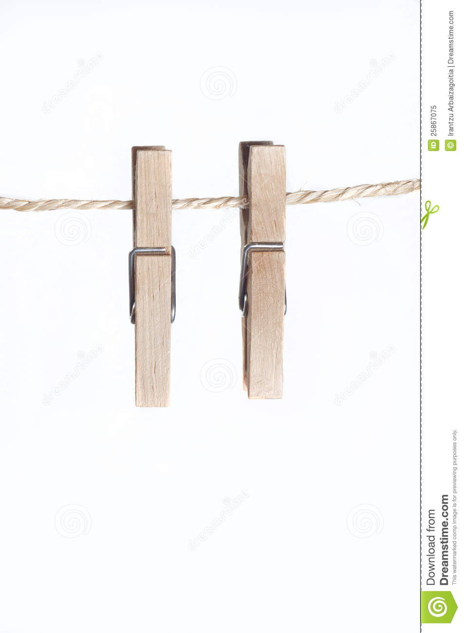 two clamps for laundry hanging on a string stock image image 25867075. Black Bedroom Furniture Sets. Home Design Ideas