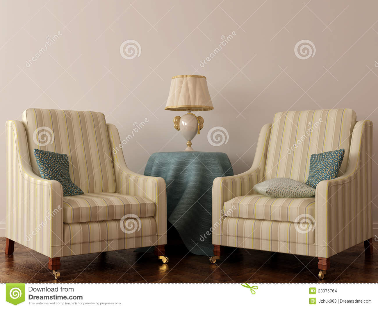 Two classic chair and table with lamp stock illustration image two classic chair and table with lamp geotapseo Gallery