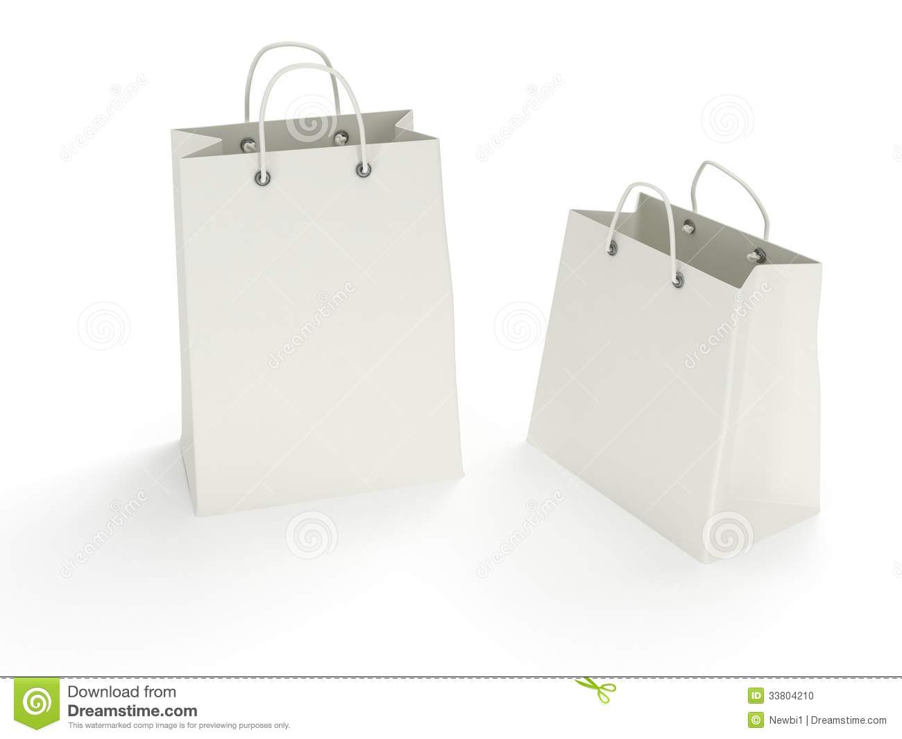 Two Classic White Shopping Bags (3d Render) Stock Photo - Image ...