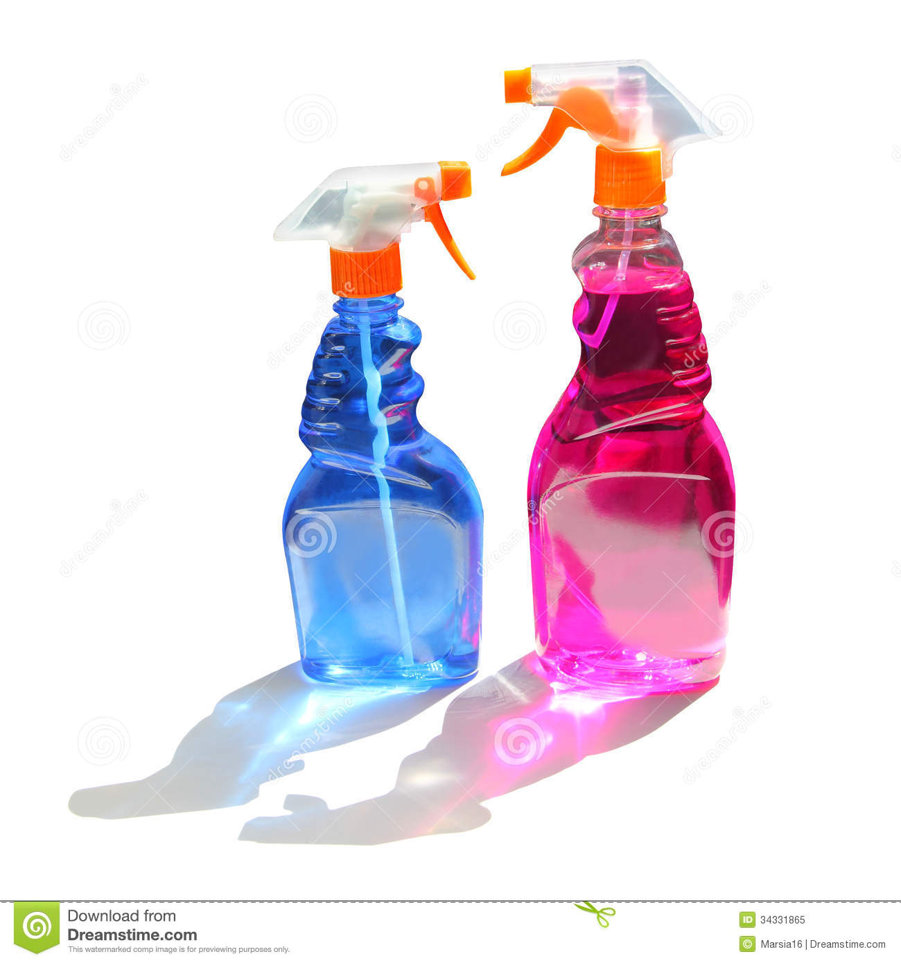 Two Cleaning Spray Bottles On White Stock Image Image