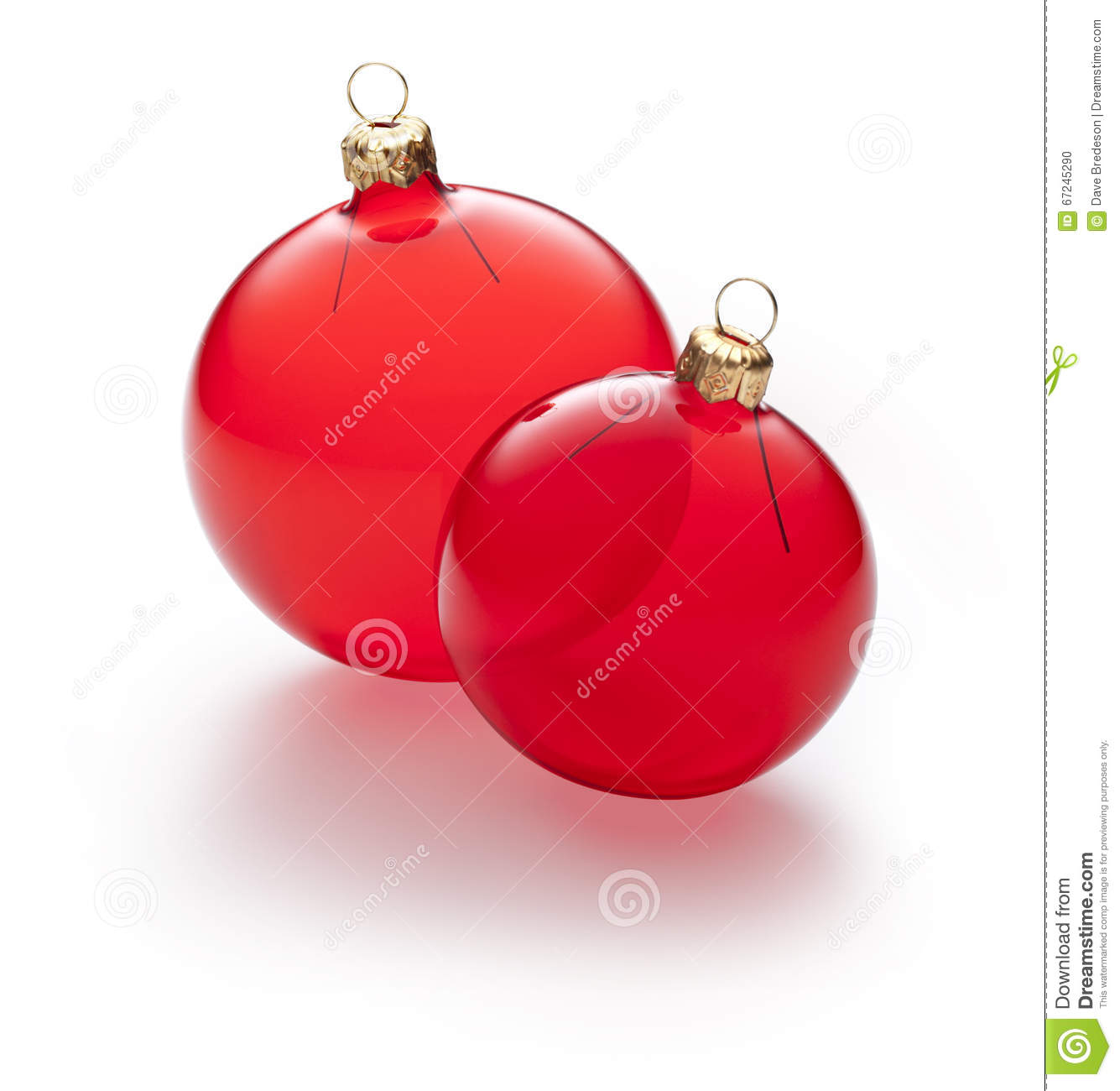 download two clear red christmas ornaments stock photo image of baubles tasteful 67245290
