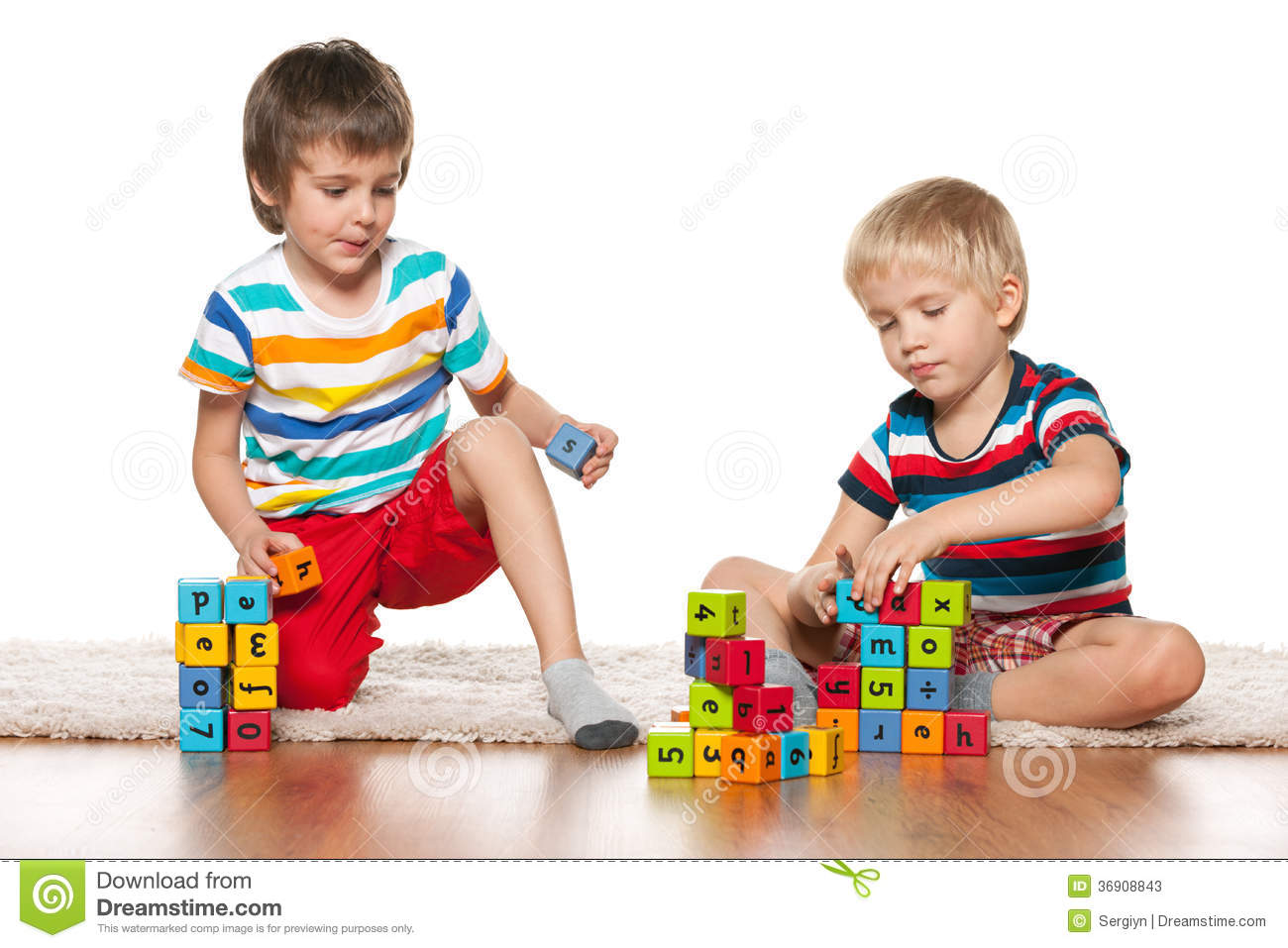 Boys Sharing Toys : Two clever boys with blocks stock photos image