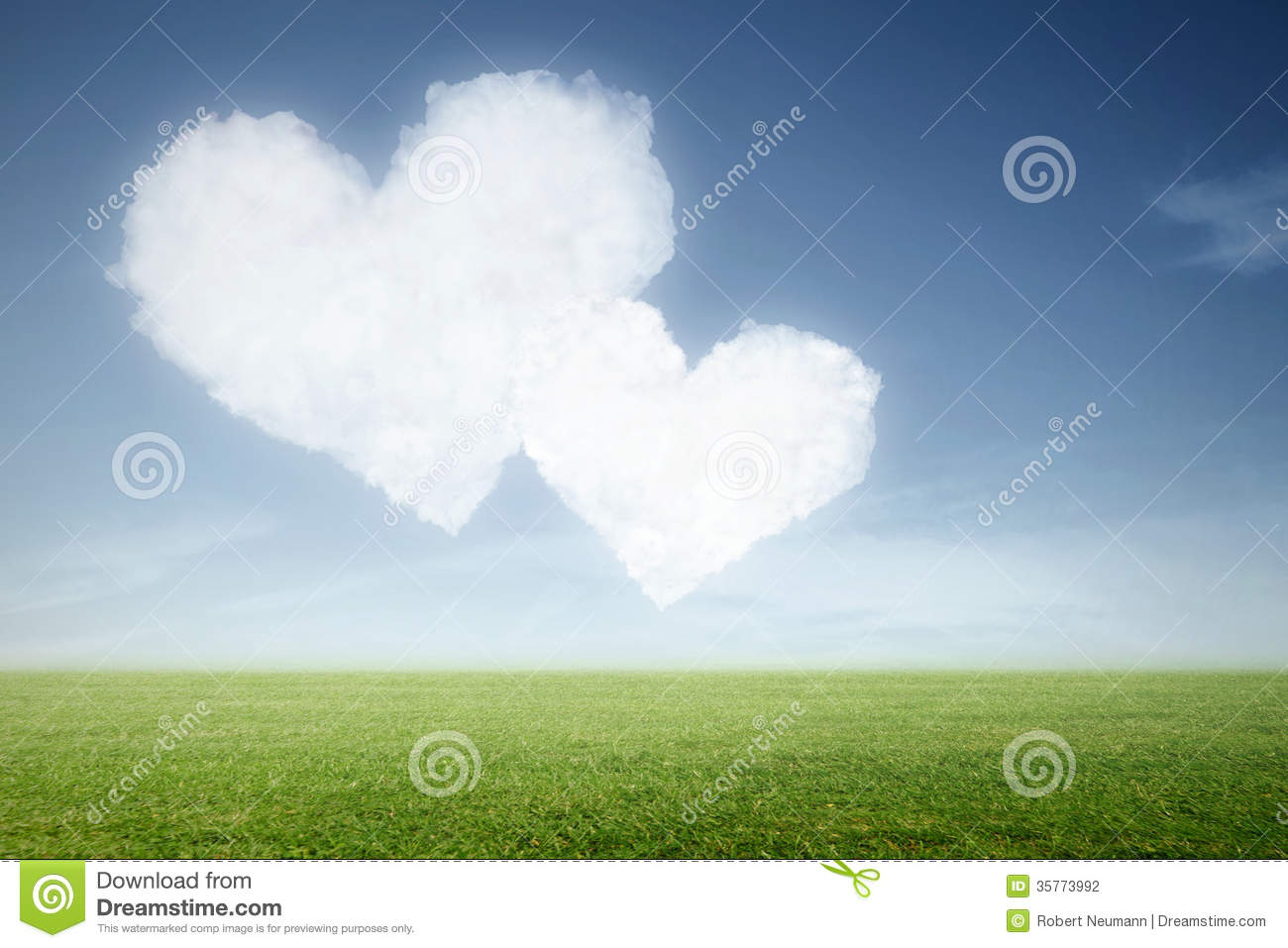 two clouds in heart shape in the sky stock photo - image of
