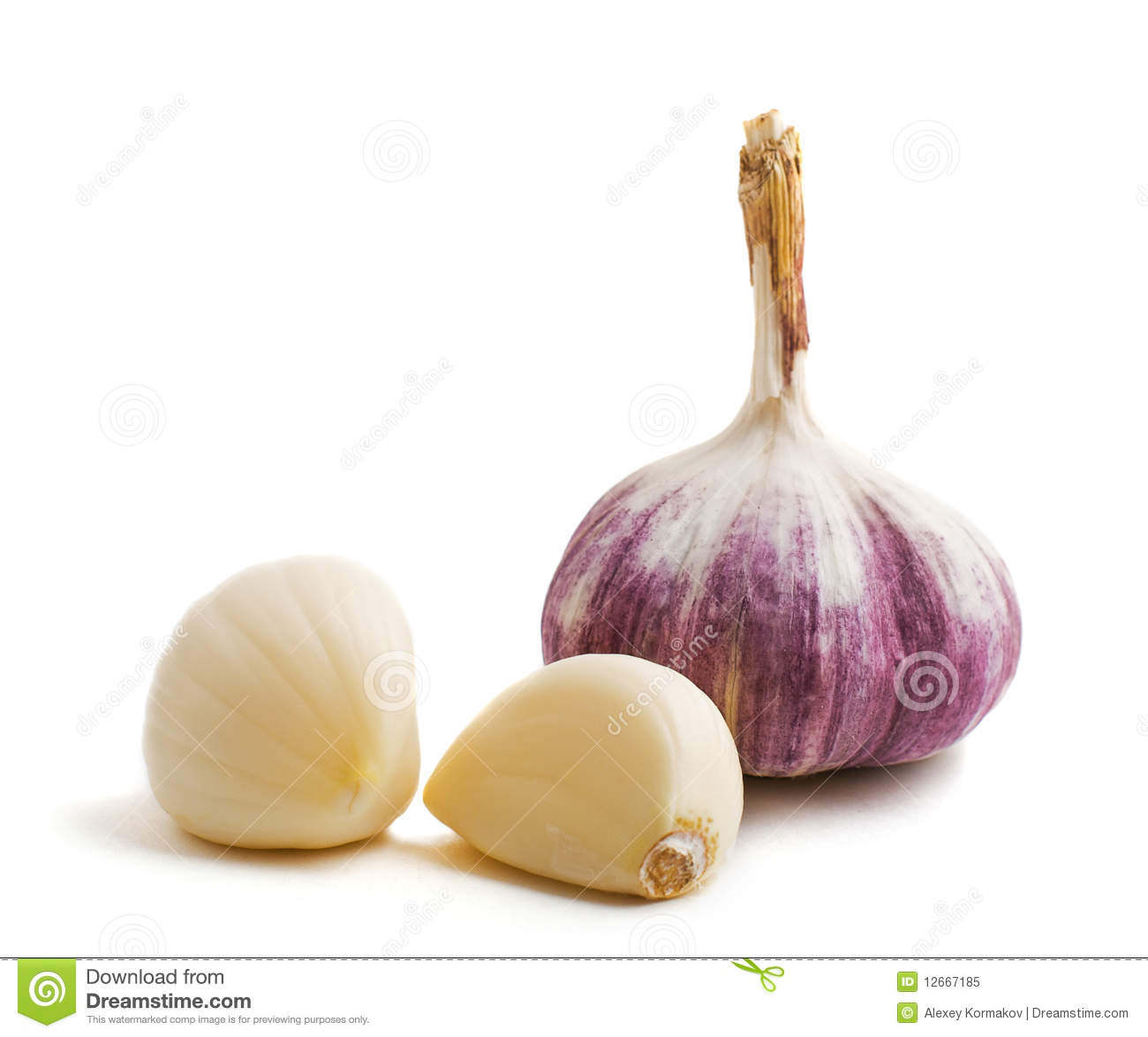 Two Cloves And Bulb Of Garlic Royalty Free Stock Photo ...