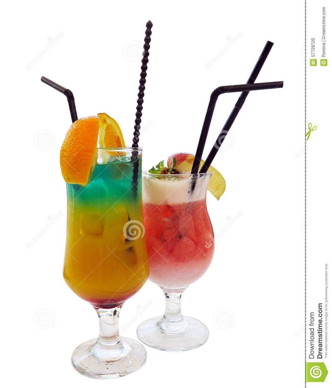 Two cocktails decorated with citrus apple and mint isolated over