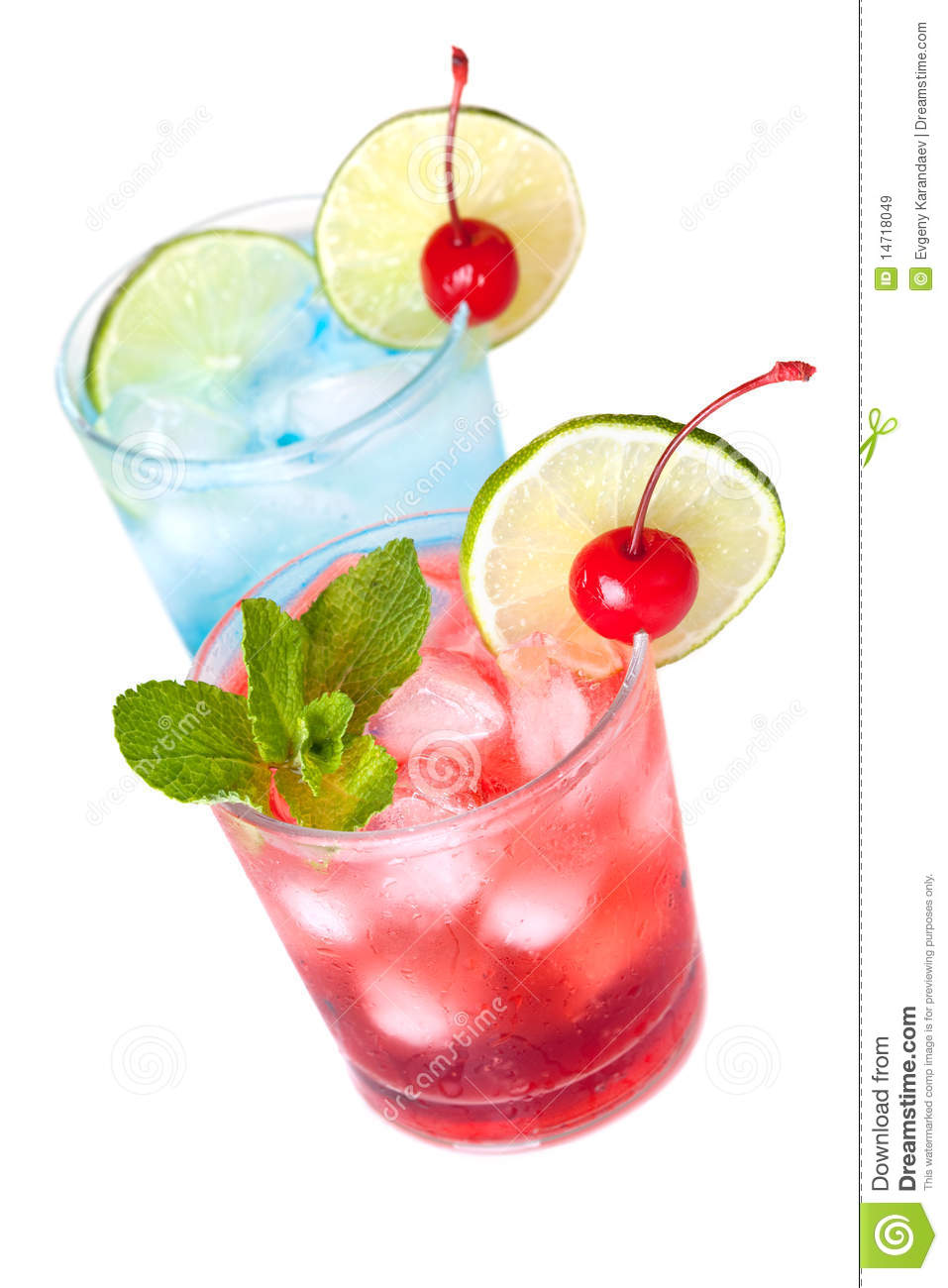 Two Cocktails With Lime Slice And Maraschino Royalty Free Stock Images ...