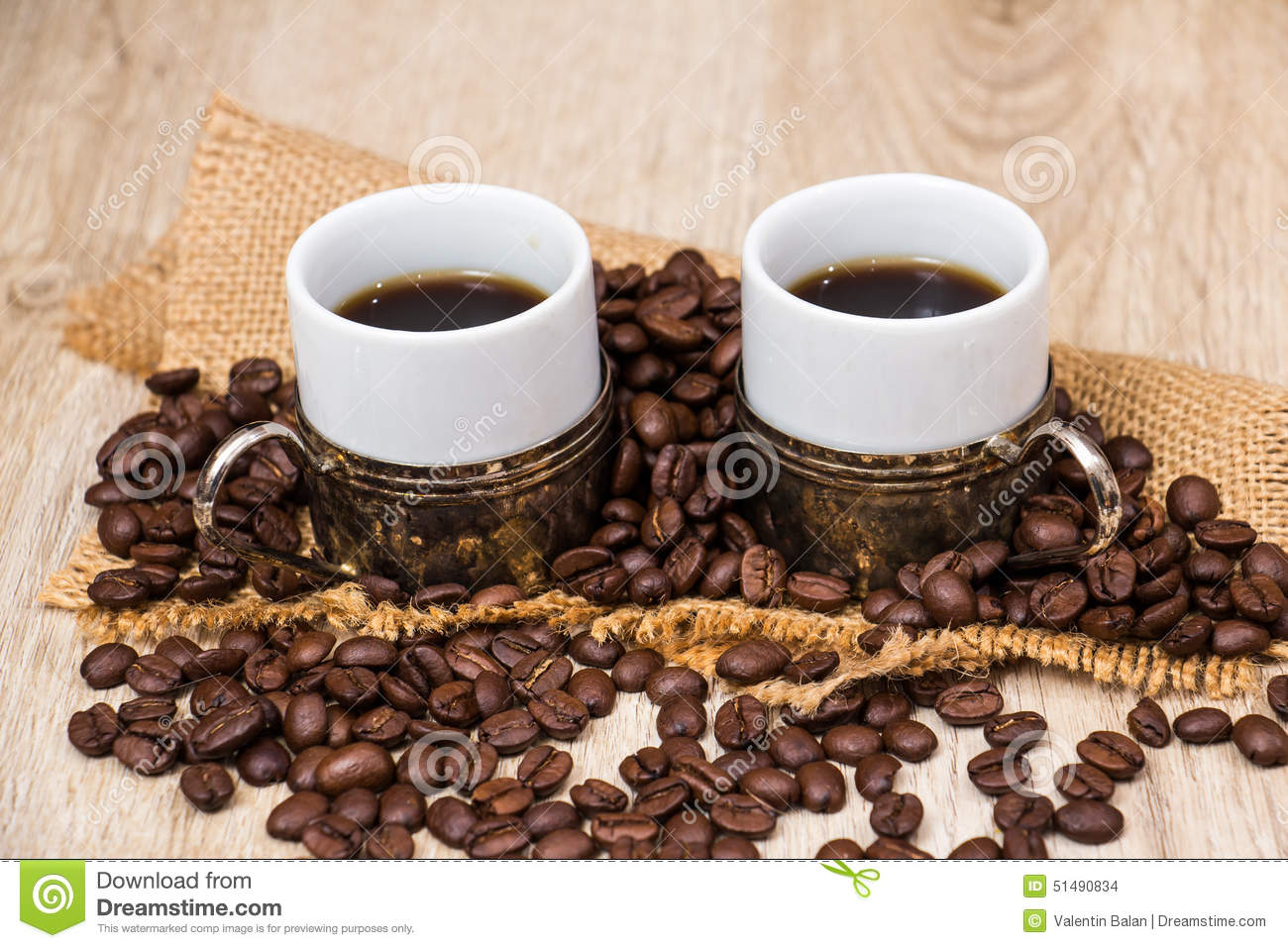 Two Coffee Cups With Coffee Beans Stock Photo - Image ...