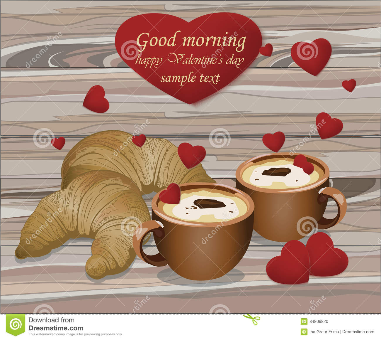 two coffee cups and croissants on wood background romantic breakfast love valentines day card. Black Bedroom Furniture Sets. Home Design Ideas