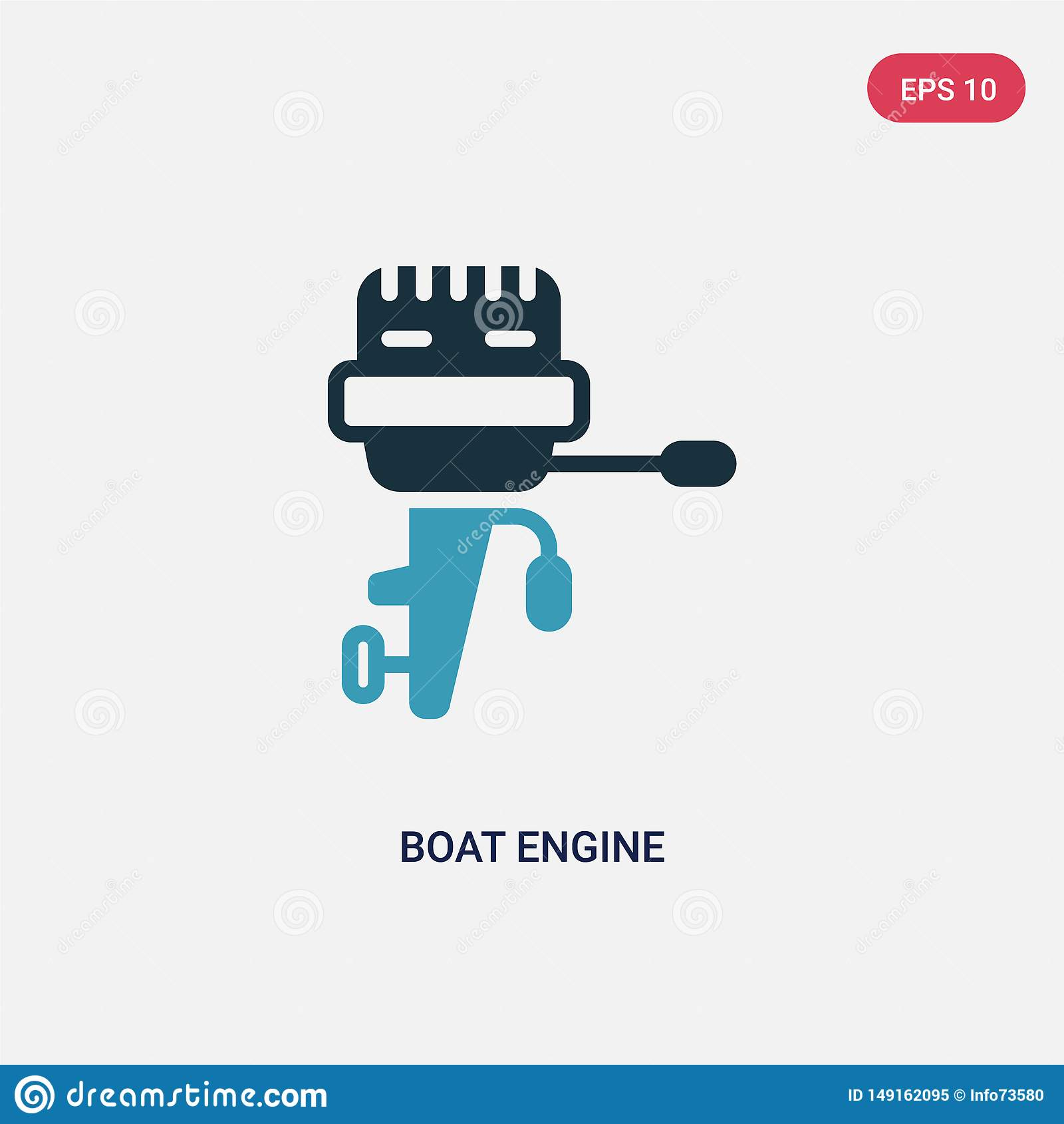 Two color boat engine vector icon from nautical concept. isolated blue boat engine vector sign symbol can be use for web, mobile