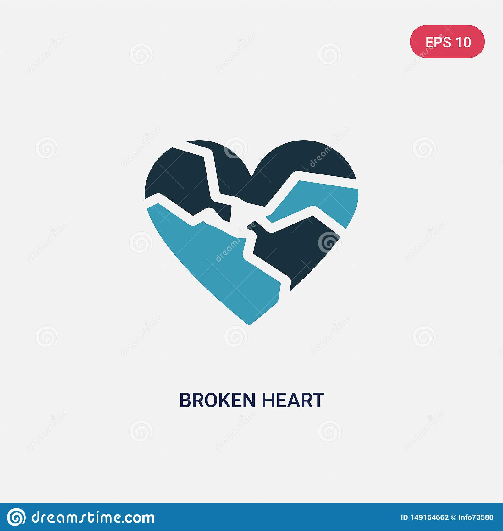 Two color broken heart vector icon from shapes concept. isolated blue broken heart vector sign symbol can be use for web, mobile