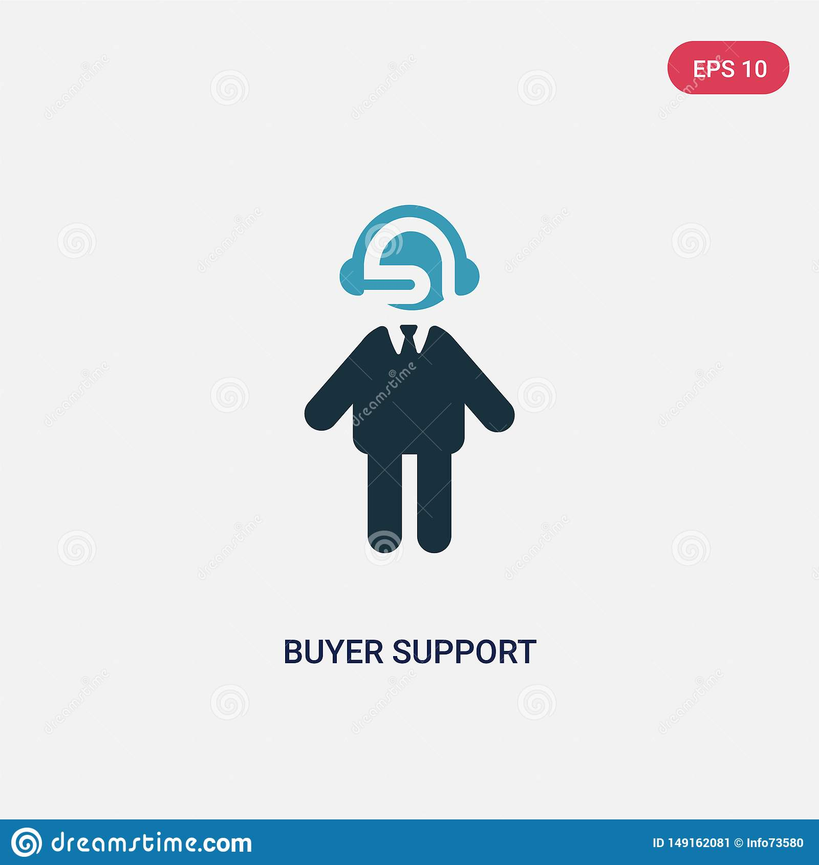 Two color buyer support vector icon from people concept. isolated blue buyer support vector sign symbol can be use for web, mobile
