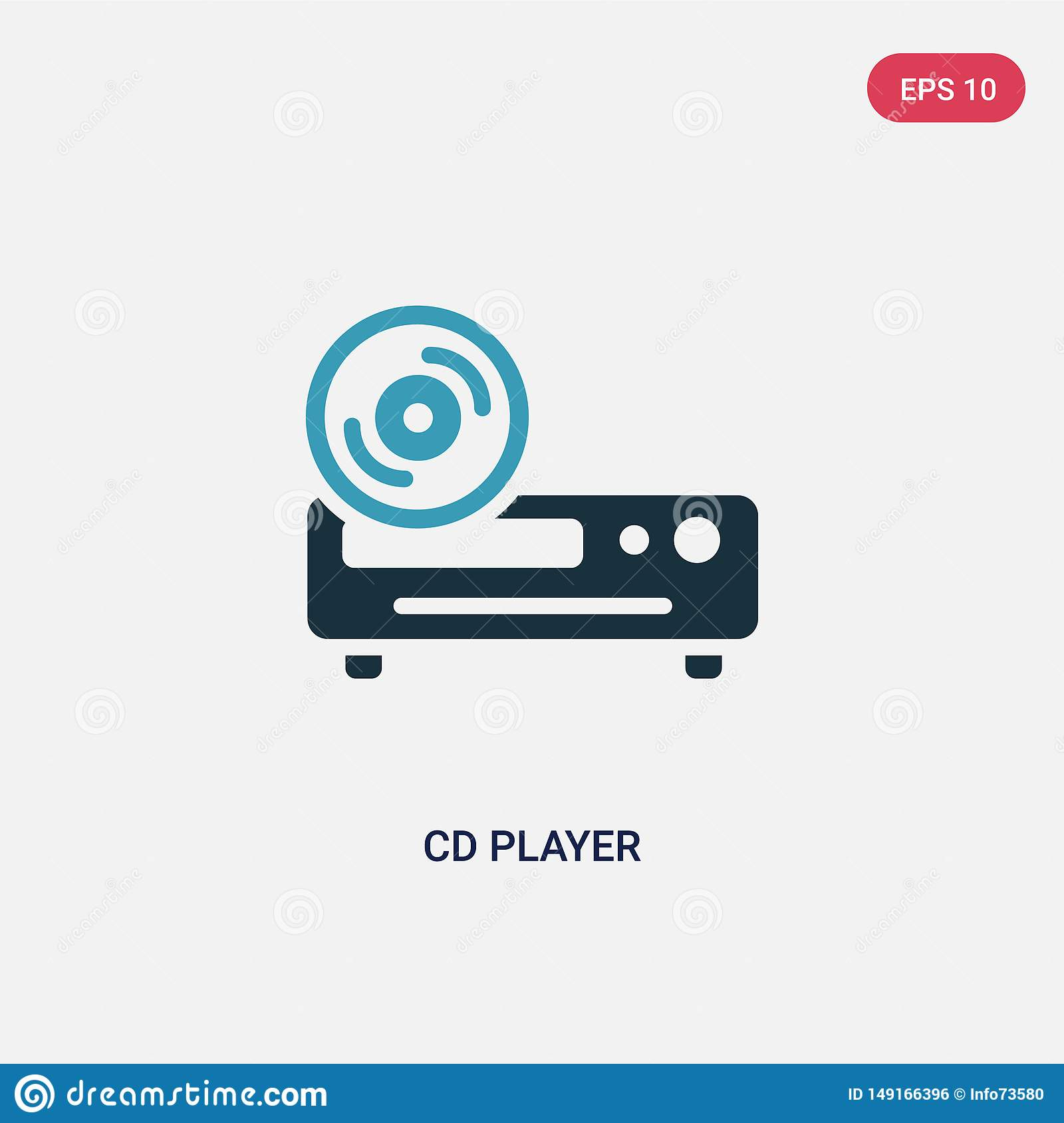 Two color cd player vector icon from smart home concept. isolated blue cd player vector sign symbol can be use for web, mobile and