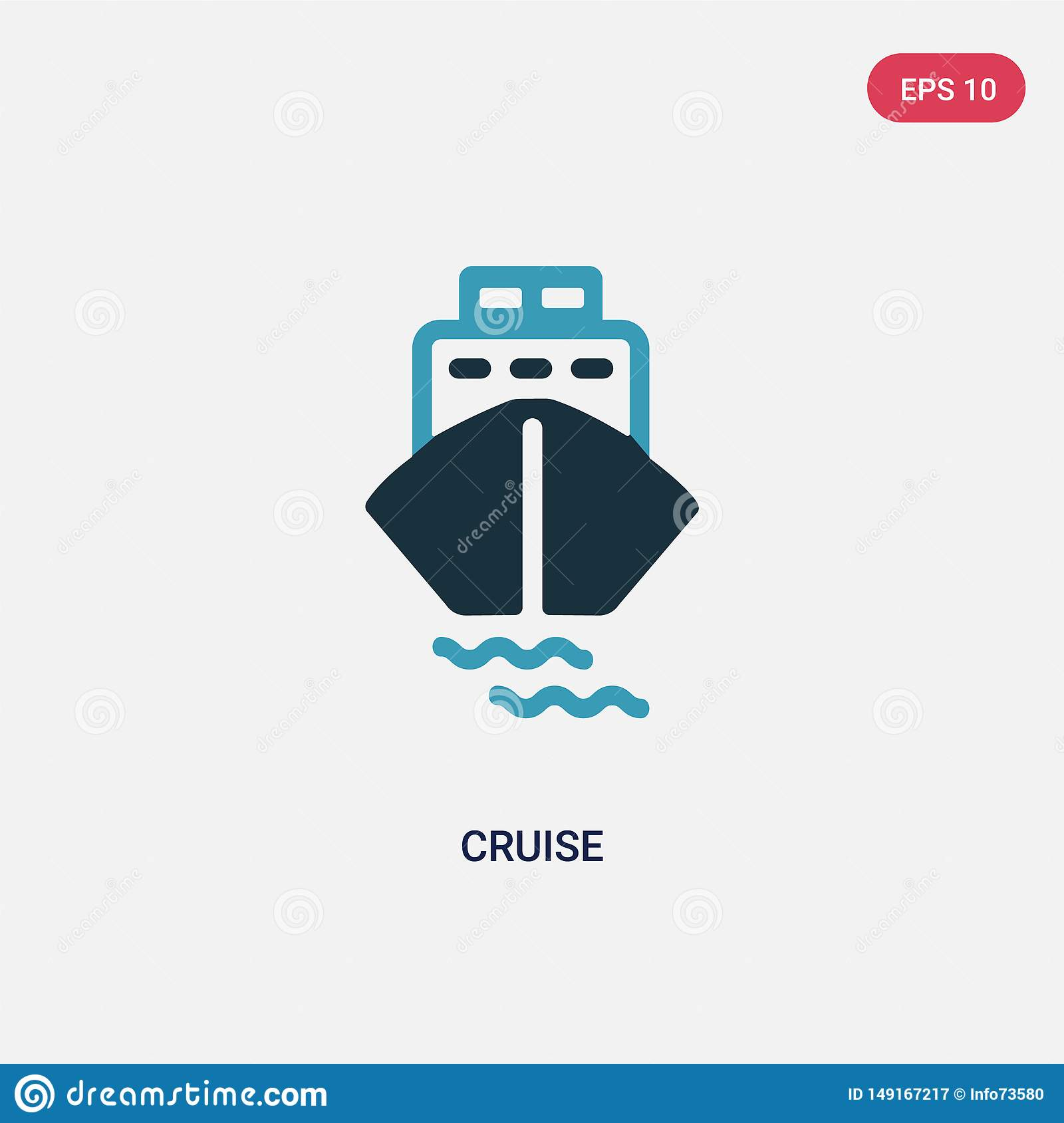Two color cruise vector icon from summer concept. isolated blue cruise vector sign symbol can be use for web, mobile and logo. eps