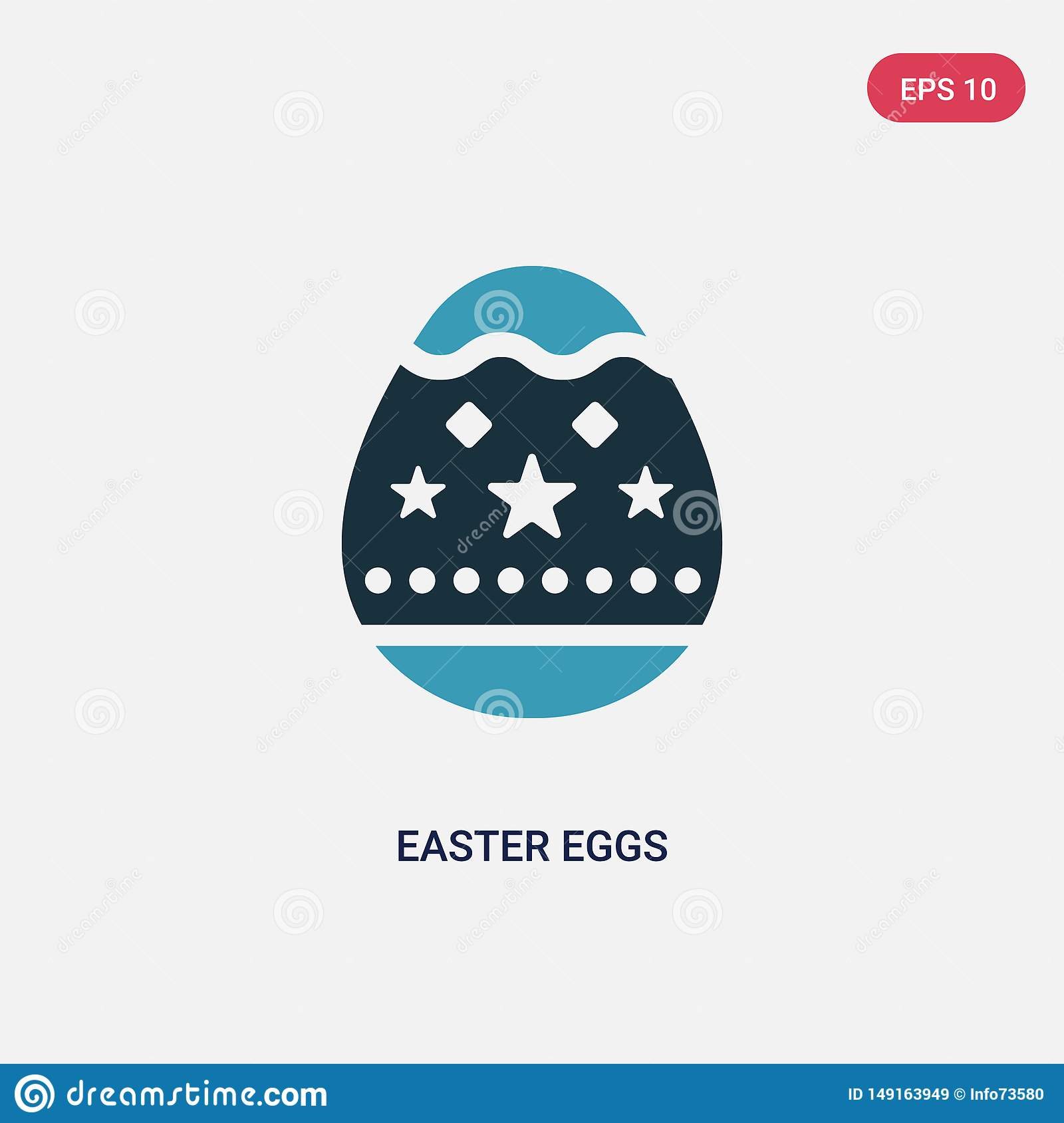 Two color easter eggs vector icon from religion concept. isolated blue easter eggs vector sign symbol can be use for web, mobile