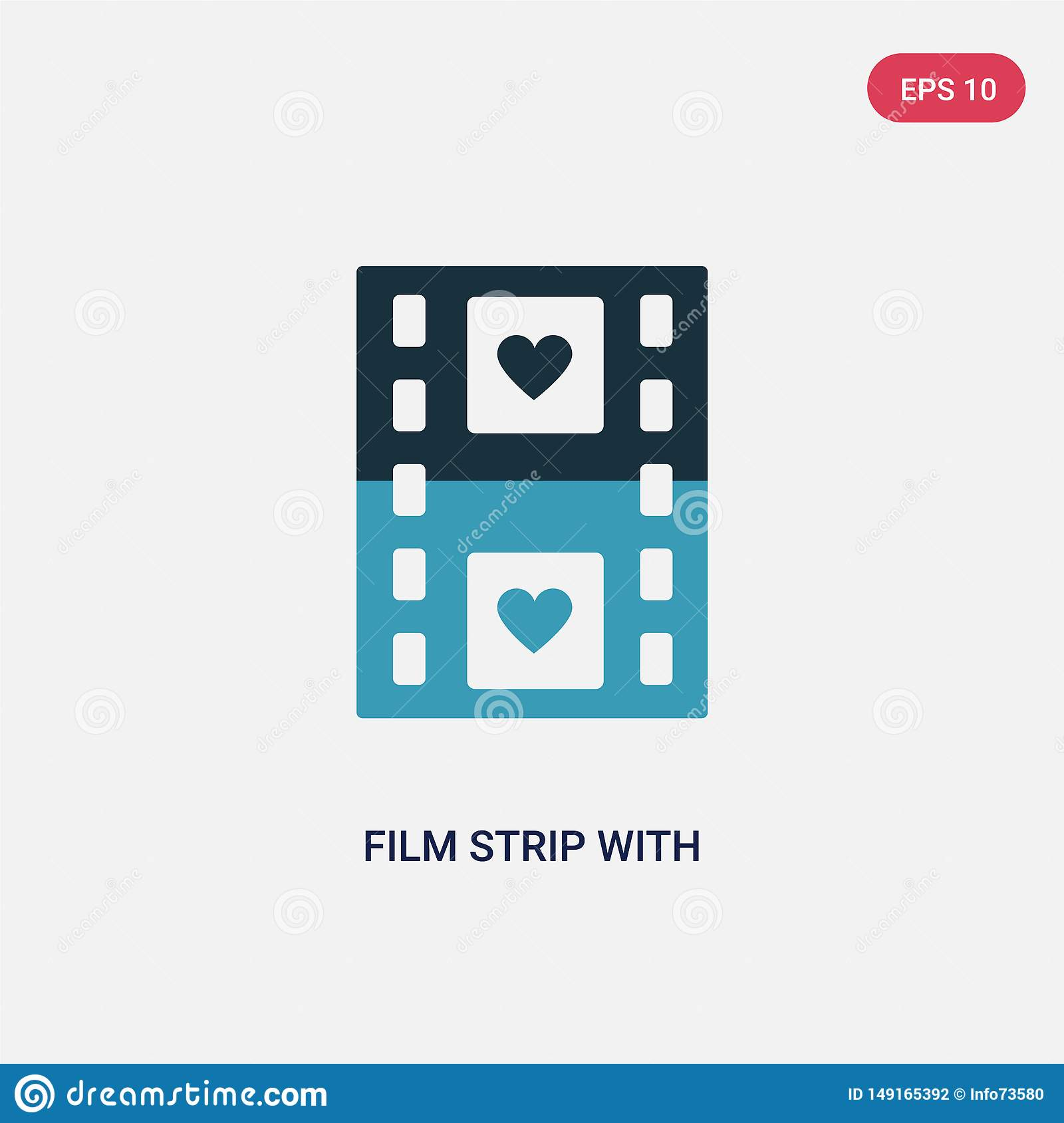 Two color film strip with heart vector icon from shapes concept. isolated blue film strip with heart vector sign symbol can be use