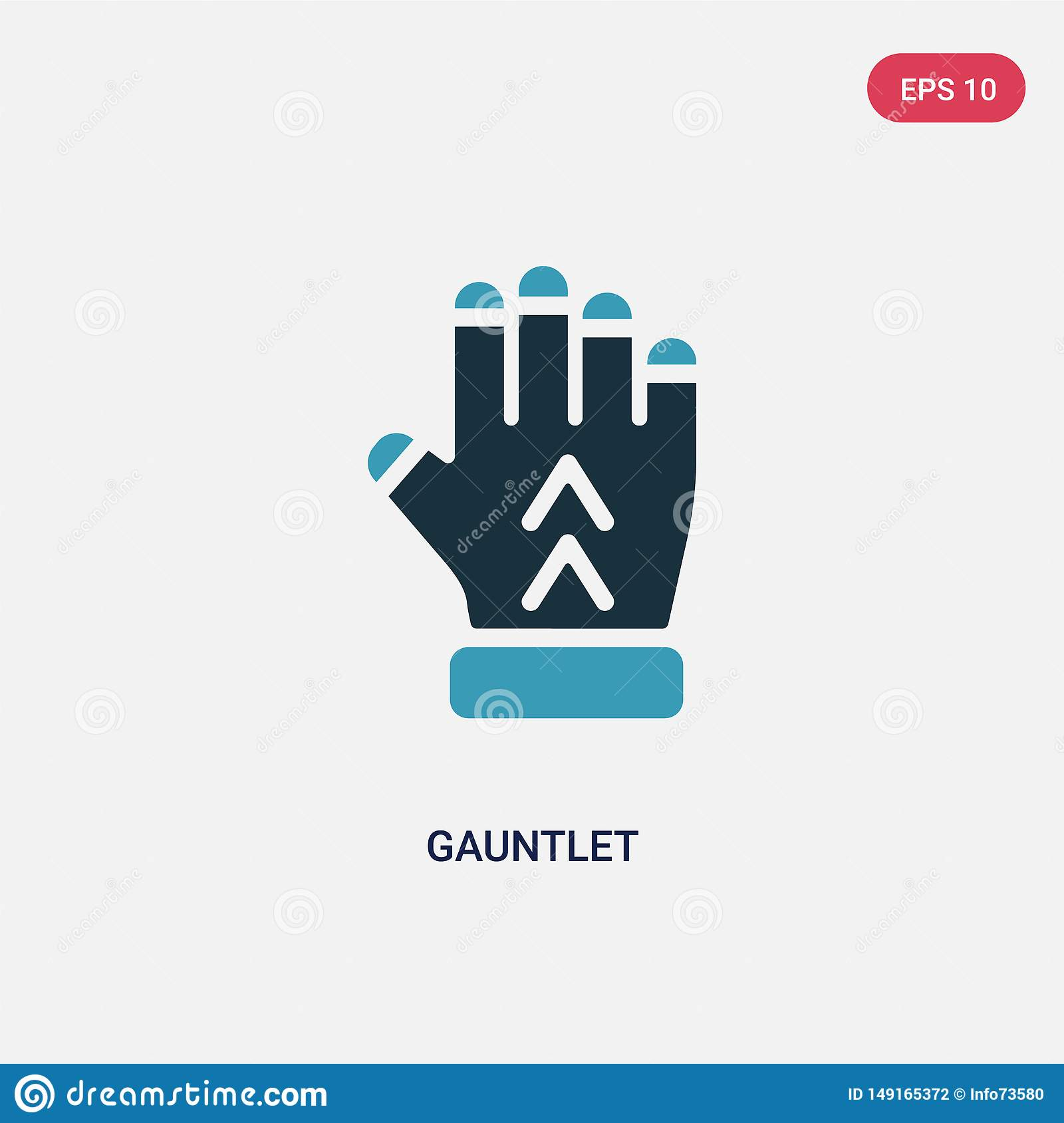 Two Color Gauntlet Vector Icon From Shapes Concept  Isolated