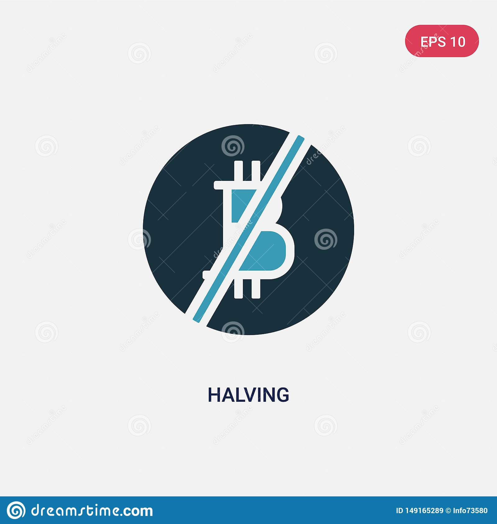 Two color halving vector icon from shapes and symbols concept. isolated blue halving vector sign symbol can be use for web, mobile