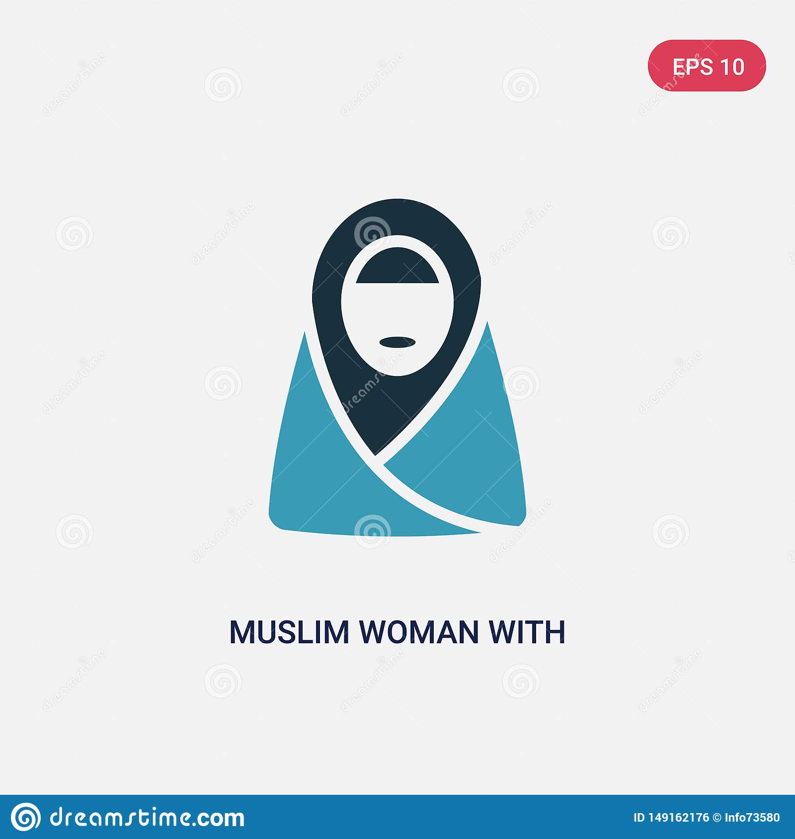 Two color muslim woman with hijab vector icon from other concept. isolated blue muslim woman with hijab vector sign symbol can be