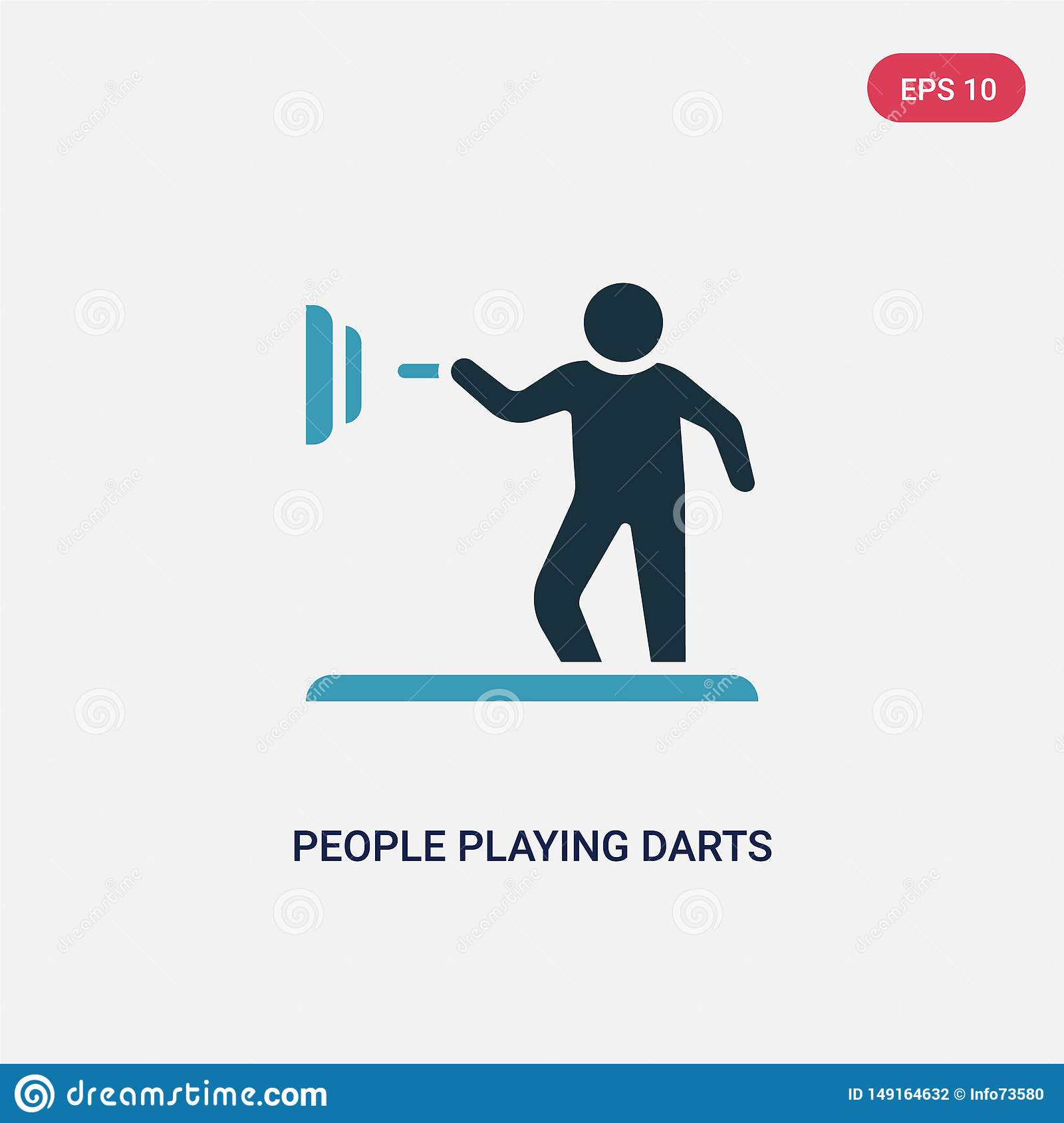 Two color people playing darts vector icon from recreational games concept. isolated blue people playing darts vector sign symbol