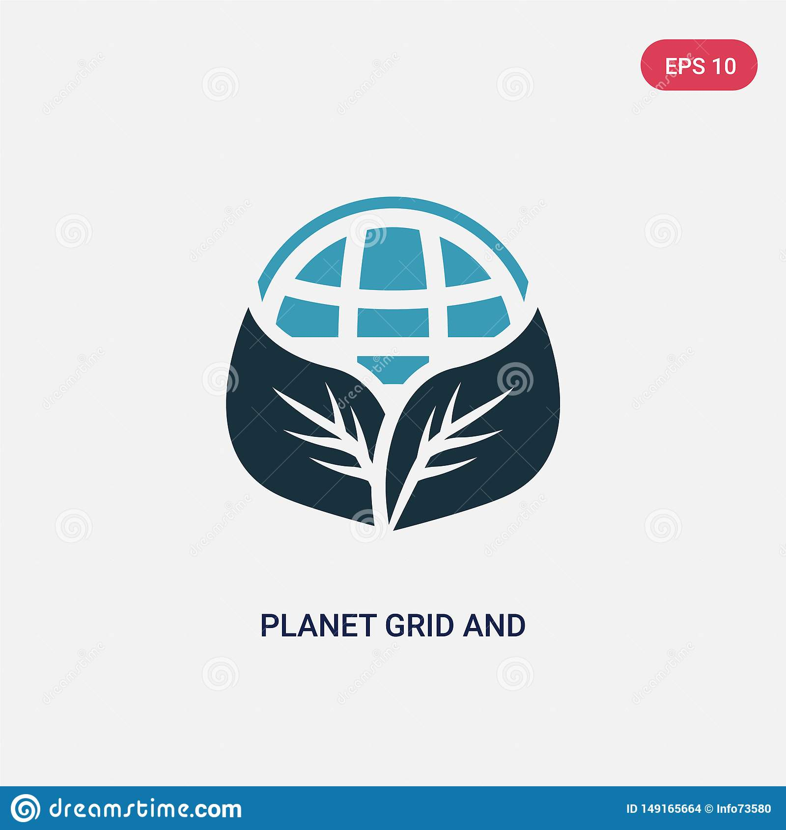 Two color planet grid and a leaf vector icon from signs concept. isolated blue planet grid and a leaf vector sign symbol can be