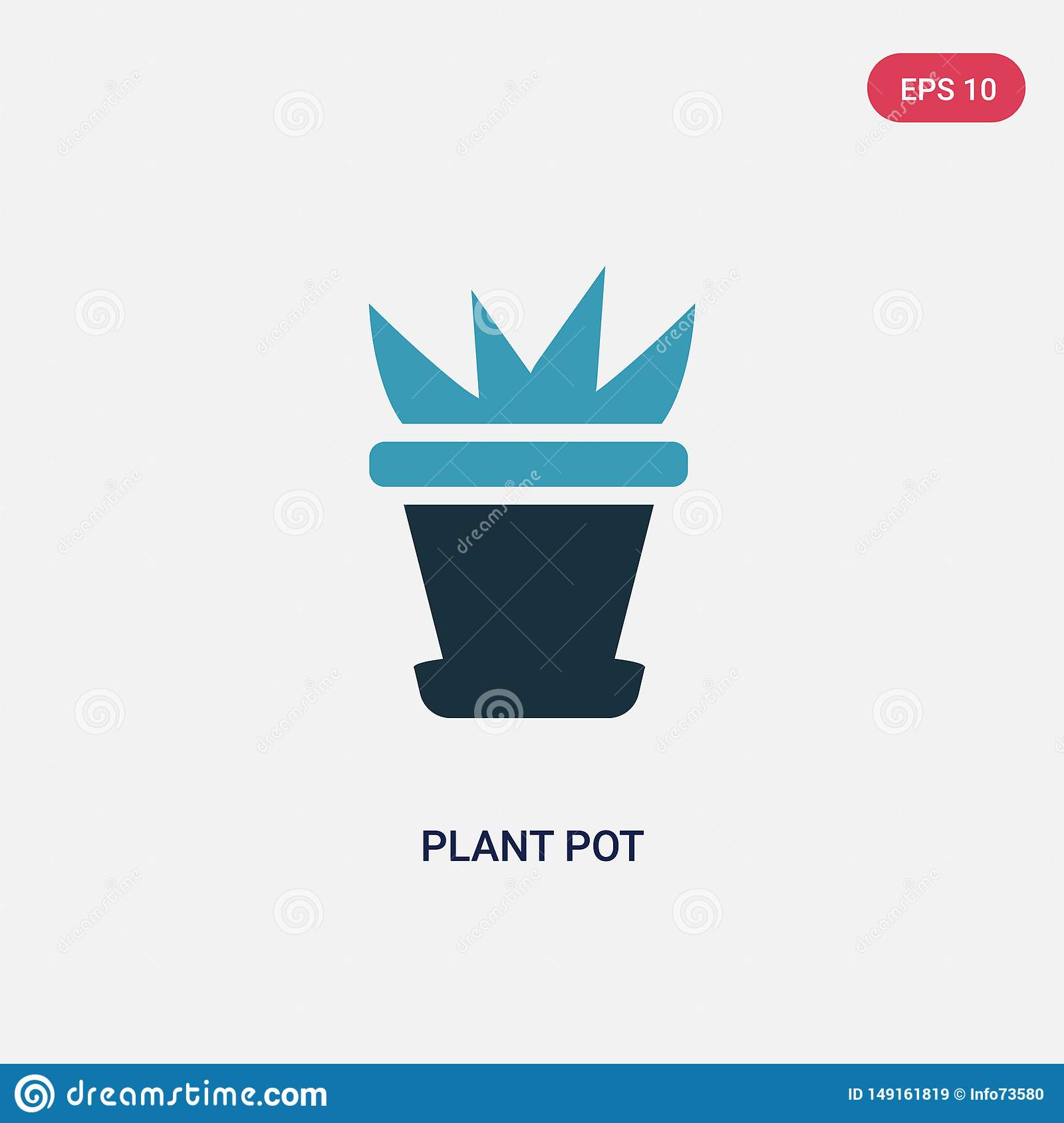 Two color plant pot vector icon from nature concept. isolated blue plant pot vector sign symbol can be use for web, mobile and