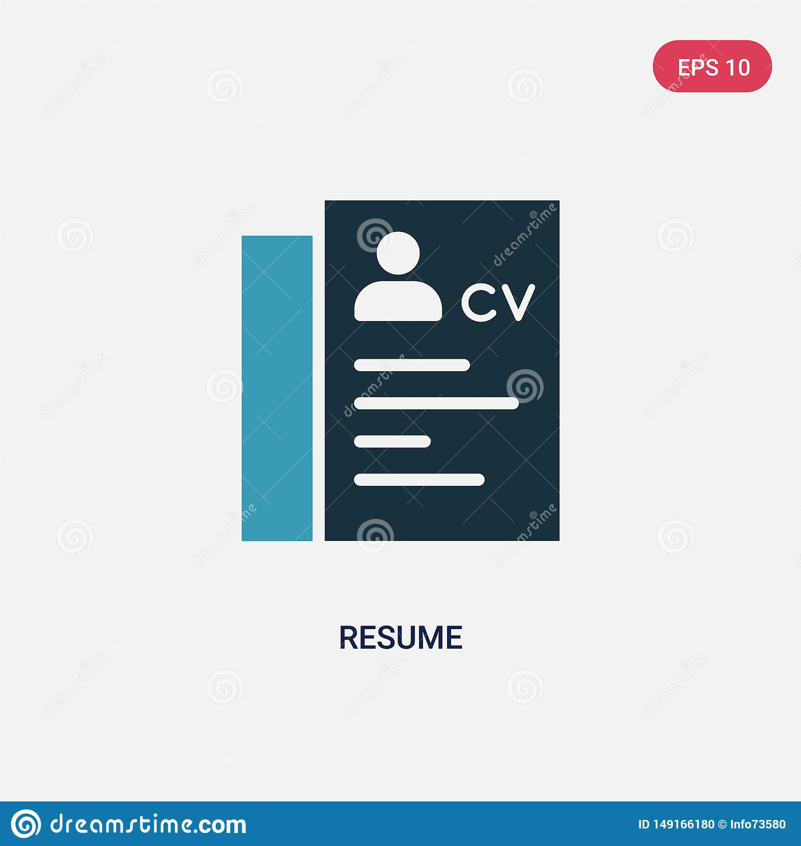 Two Color Resume Vector Icon From Strategy Concept Isolated Blue