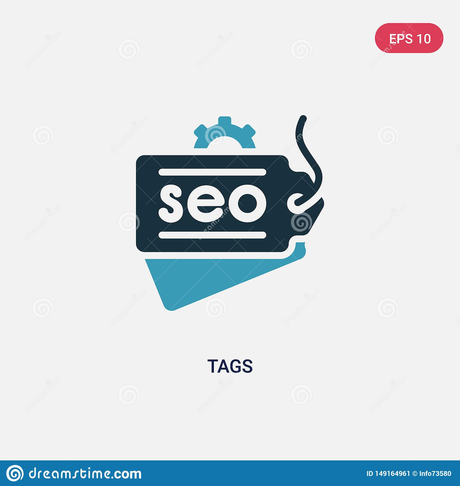 Two color tags vector icon from search engine optimization concept. isolated blue tags vector sign symbol can be use for web,