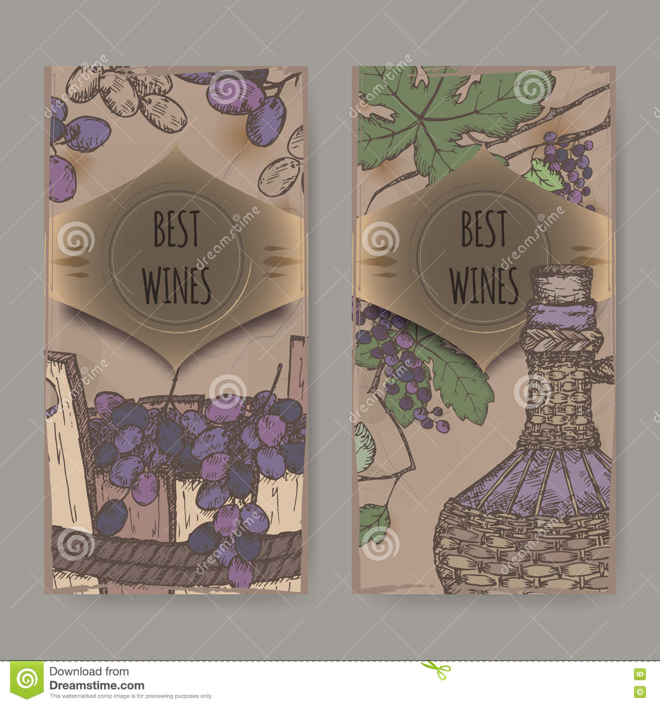 two color vintage wine labels with grapes and bottle. stock vector