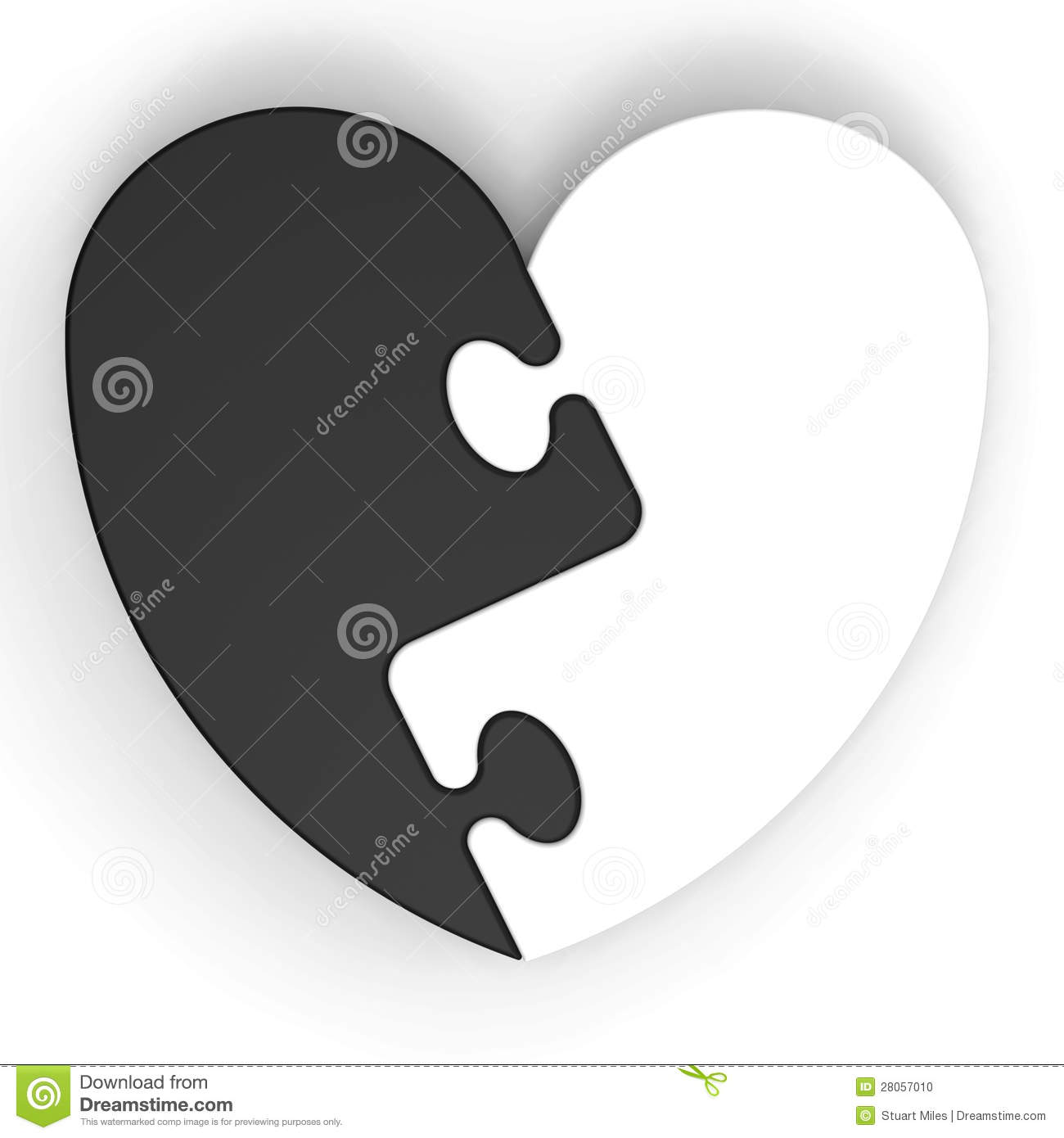 Two colored heart puzzle showing lost love