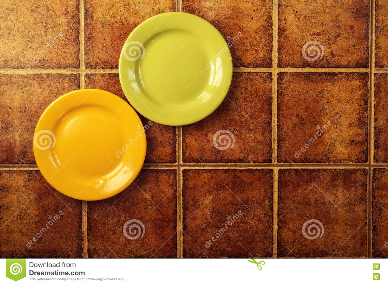 Two colored plates stock photo. Image of kitchenware - 72896882