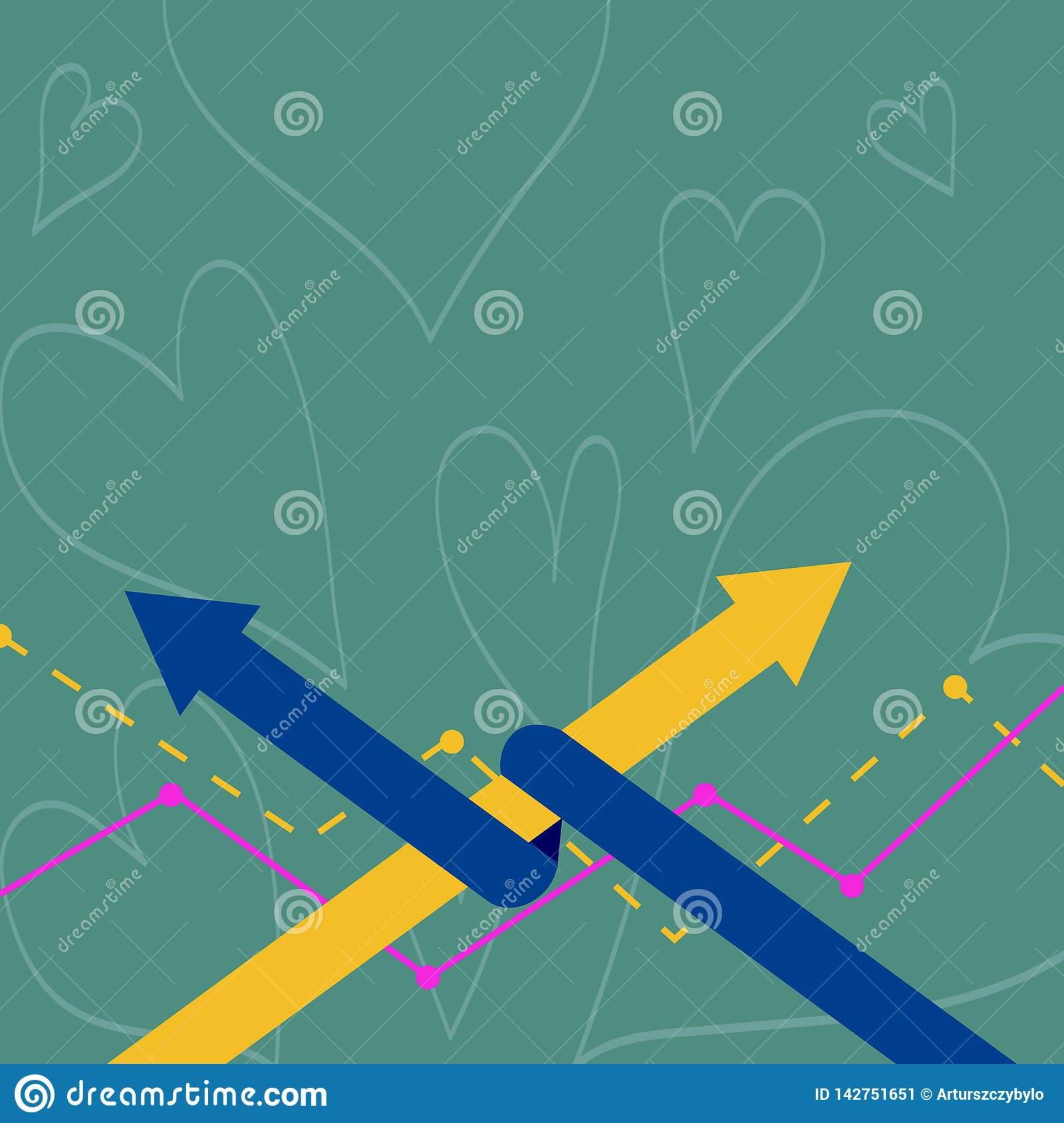Two Colorful Arrows where One is Intertwined to the other as Symbol of Partnership, Collaboration, Agreement or